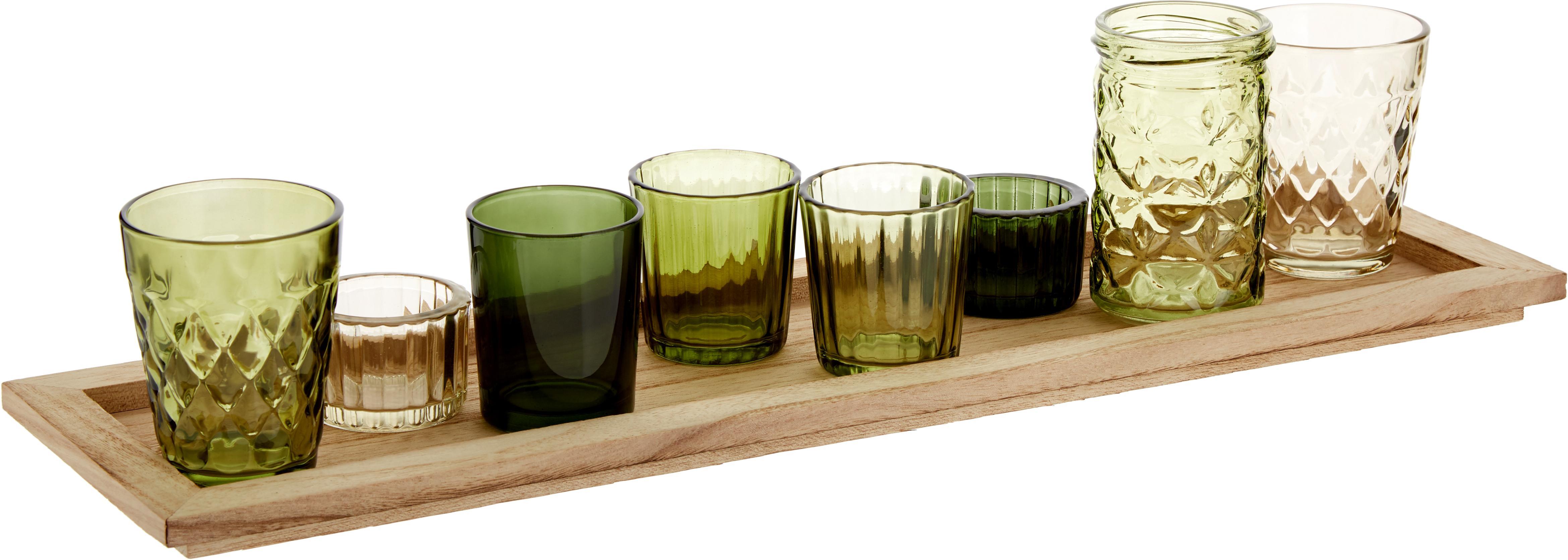 Teelichthalter-Set Wibke, 9-tlg., Tablett: Paulowniaholz, Grüntöne, Hellbraun, 50 x 11 cm