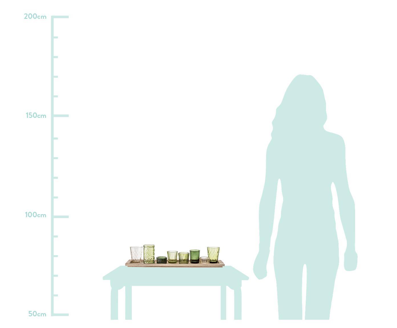 Set 9 portalumini Wibke, Vassoio: legno di paulownia, Verde, marrone chiaro, Larg. 50 x Alt. 11 cm