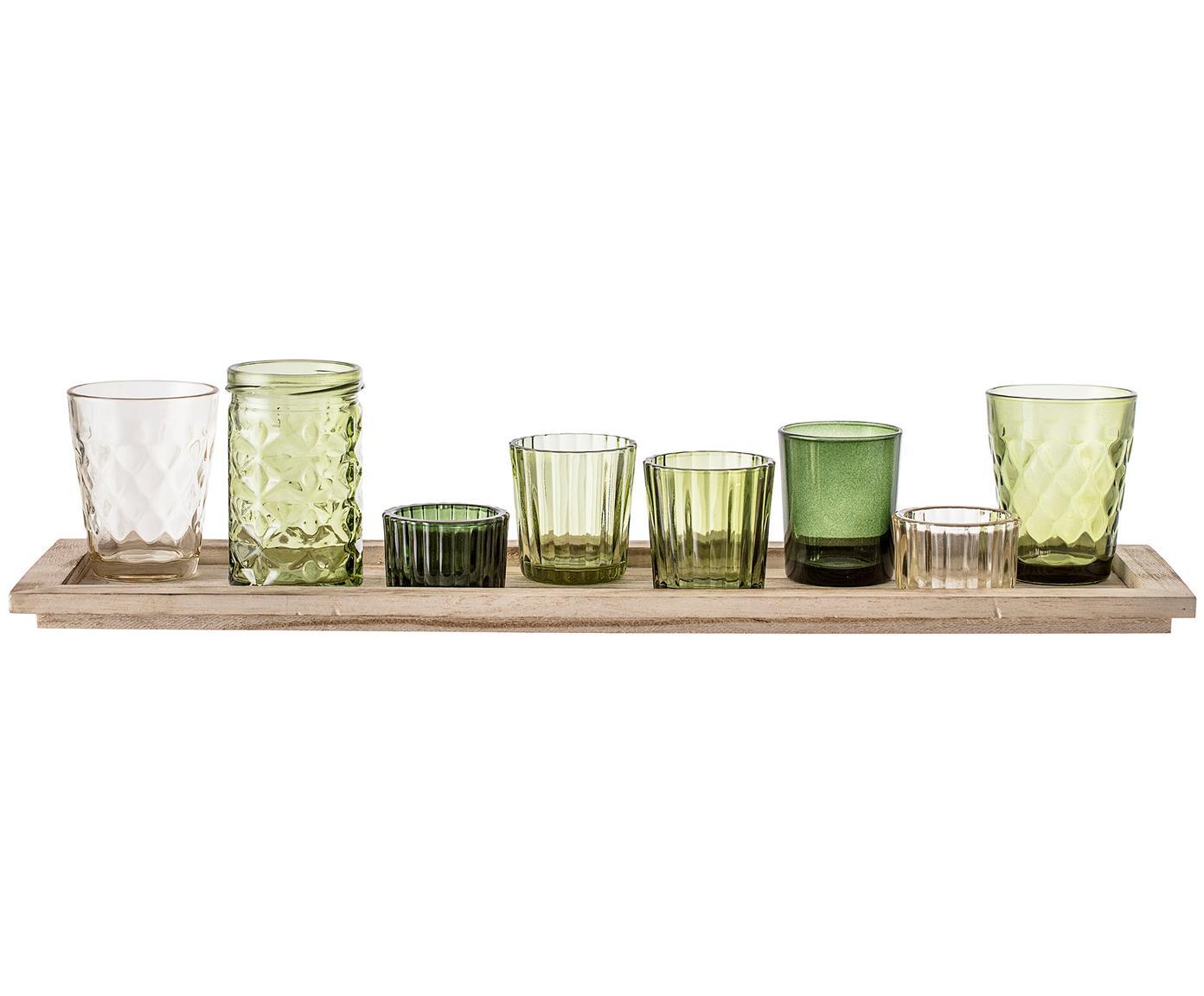 Set di 9 portalumini Wibke, Vassoio: legno di paulownia, Verde, marrone chiaro, Larg. 50 x Alt. 11 cm
