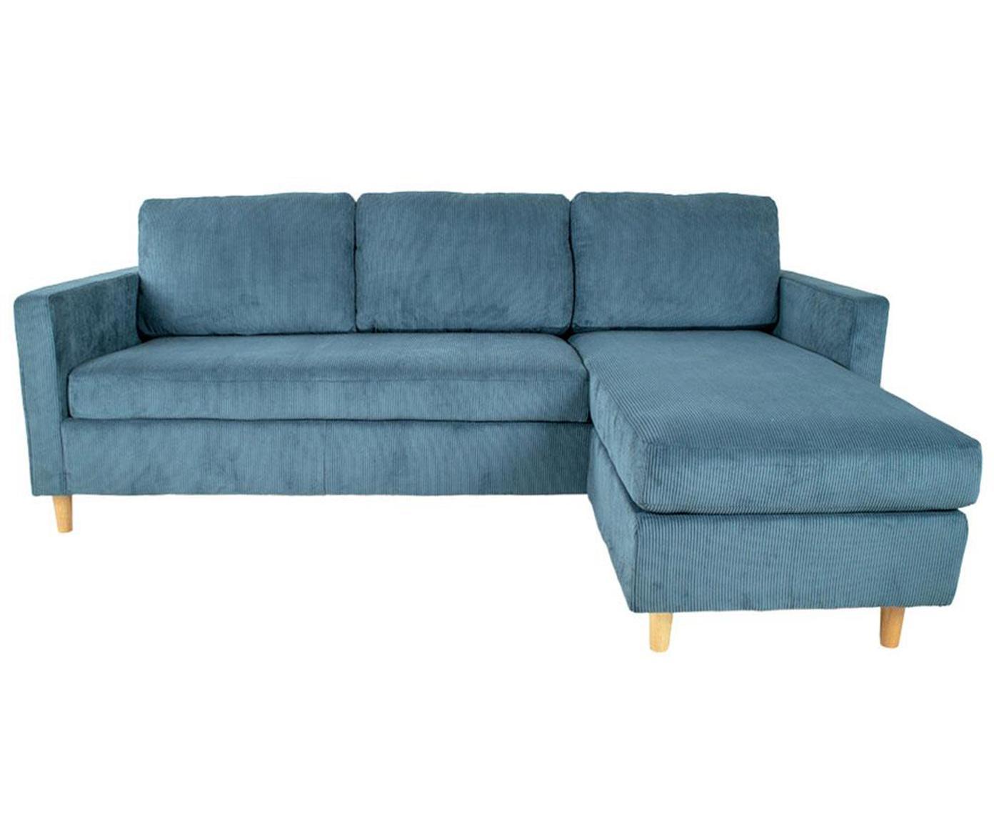 Sofá rinconero de pana Toscana, Tapizado: poliéster, Estructura: madera, Azul, An 219 x F 151 cm