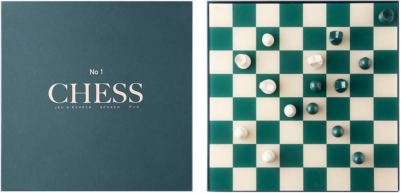 Juego de ajedrez Classic, Papel, acrílico, Beige, verde, An 25 x Al 5 cm