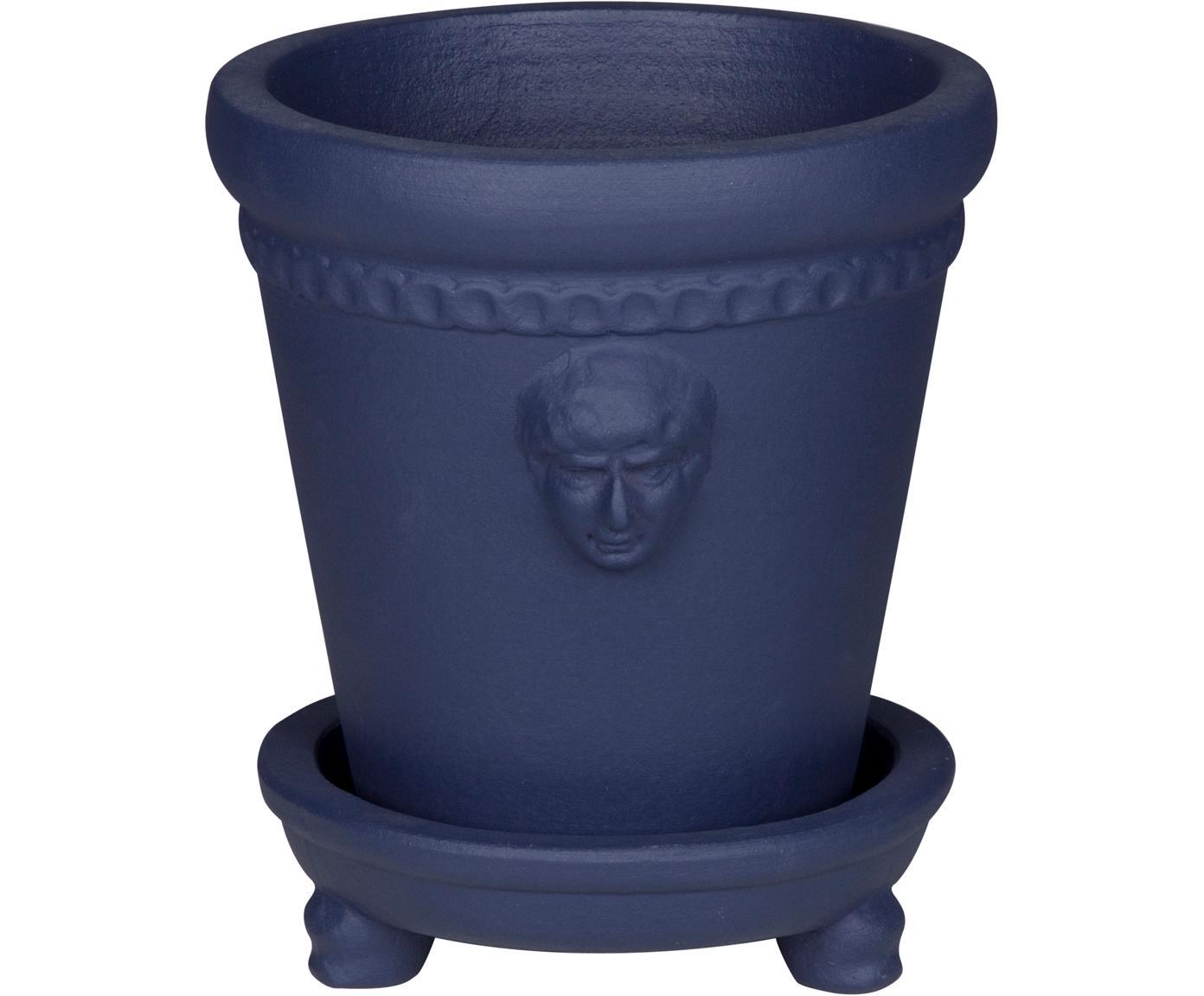 Übertopf Ceasar aus Terrakotta, Terrakotta, Blau, Ø 17 x H 20 cm