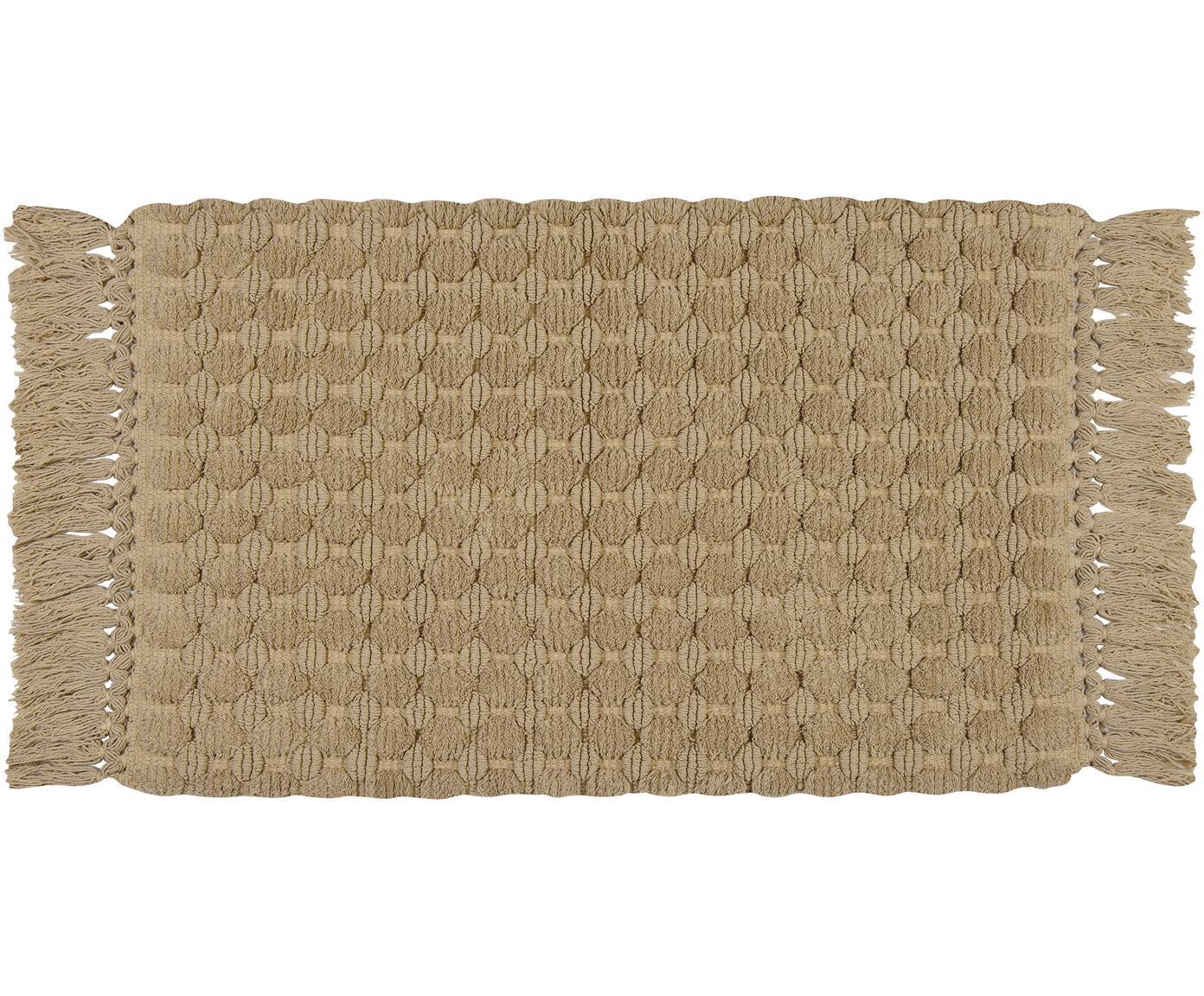 Puszysty dywanik łazienkowy z frędzlami Ivona, Bawełna, Beżowy, S 50 x D 80 cm