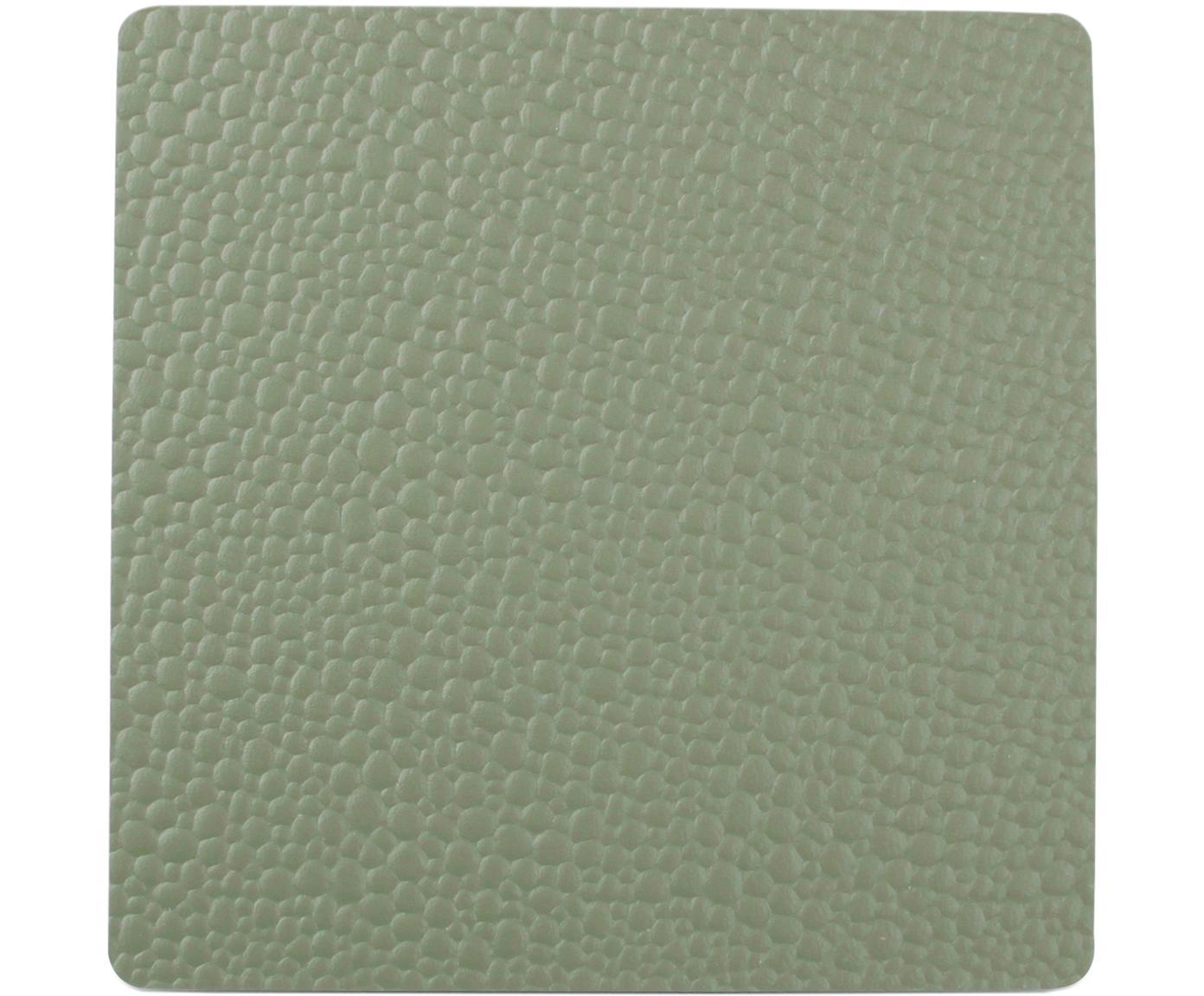 Untersetzer Tably, 4 Stück, Kunstleder, Grün, 10 x 2 cm