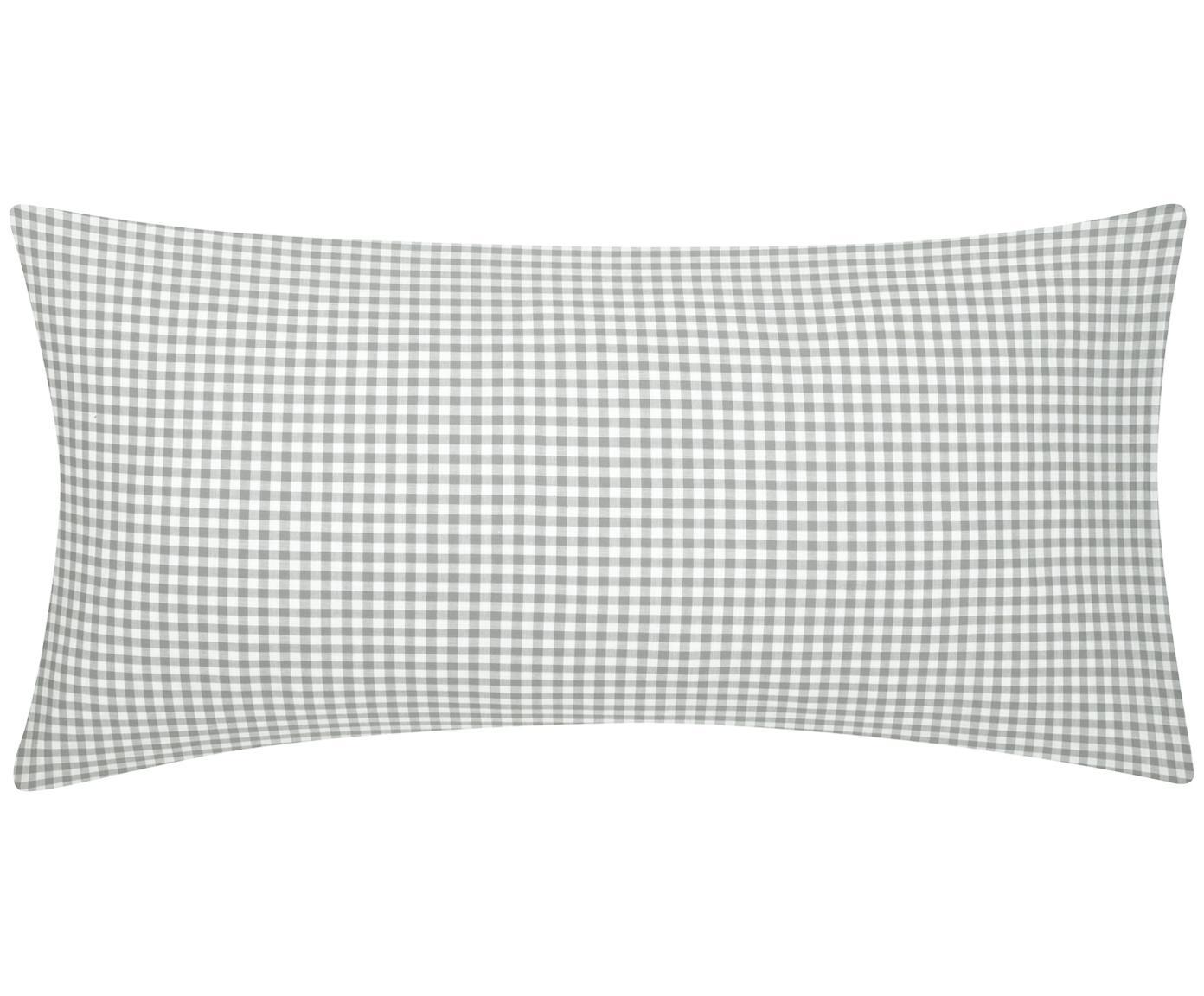 Karierte Baumwoll-Kissenbezüge Scotty in Grau/Weiß, 2 Stück, 100% Baumwolle  Fadendichte 118 TC, Standard Qualität  Bettwäsche aus Baumwolle fühlt sich auf der Haut angenehm weich an, nimmt Feuchtigkeit gut auf und eignet sich für Allergiker, Hellgrau/Weiß, 40 x 80 cm