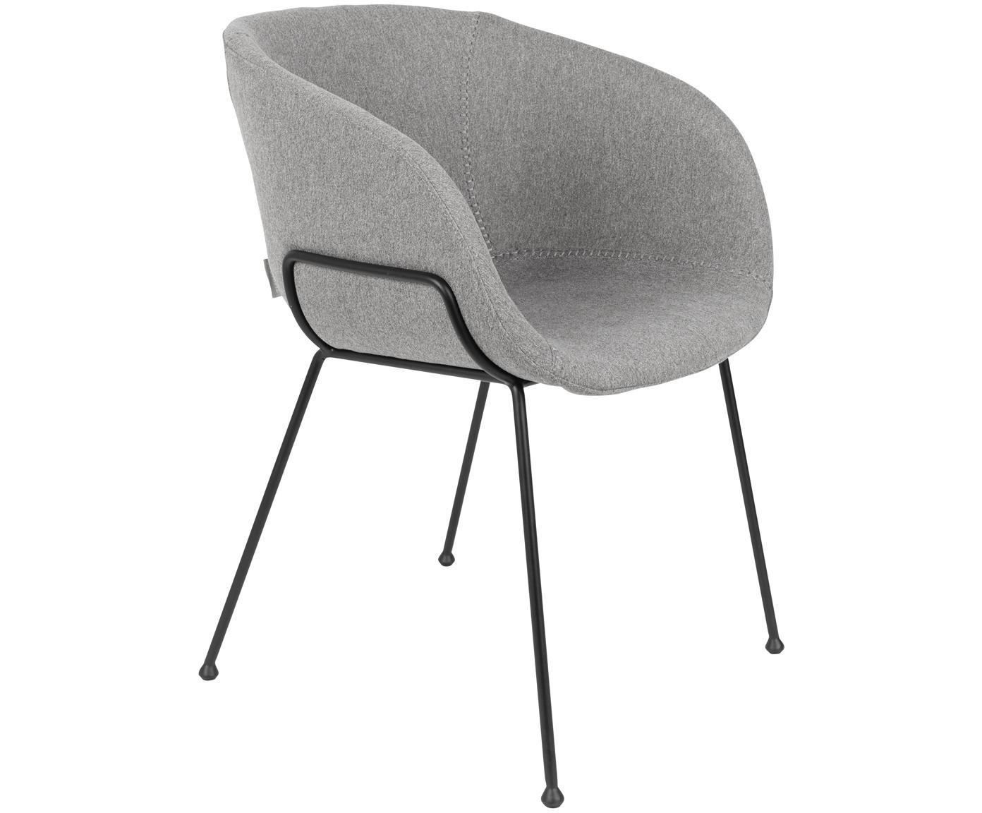 Sedia con braccioli Feston 2 pz, Rivestimento: 50% poliuretano, 50% poli, Grigio, Larg. 57 x Alt. 77 cm