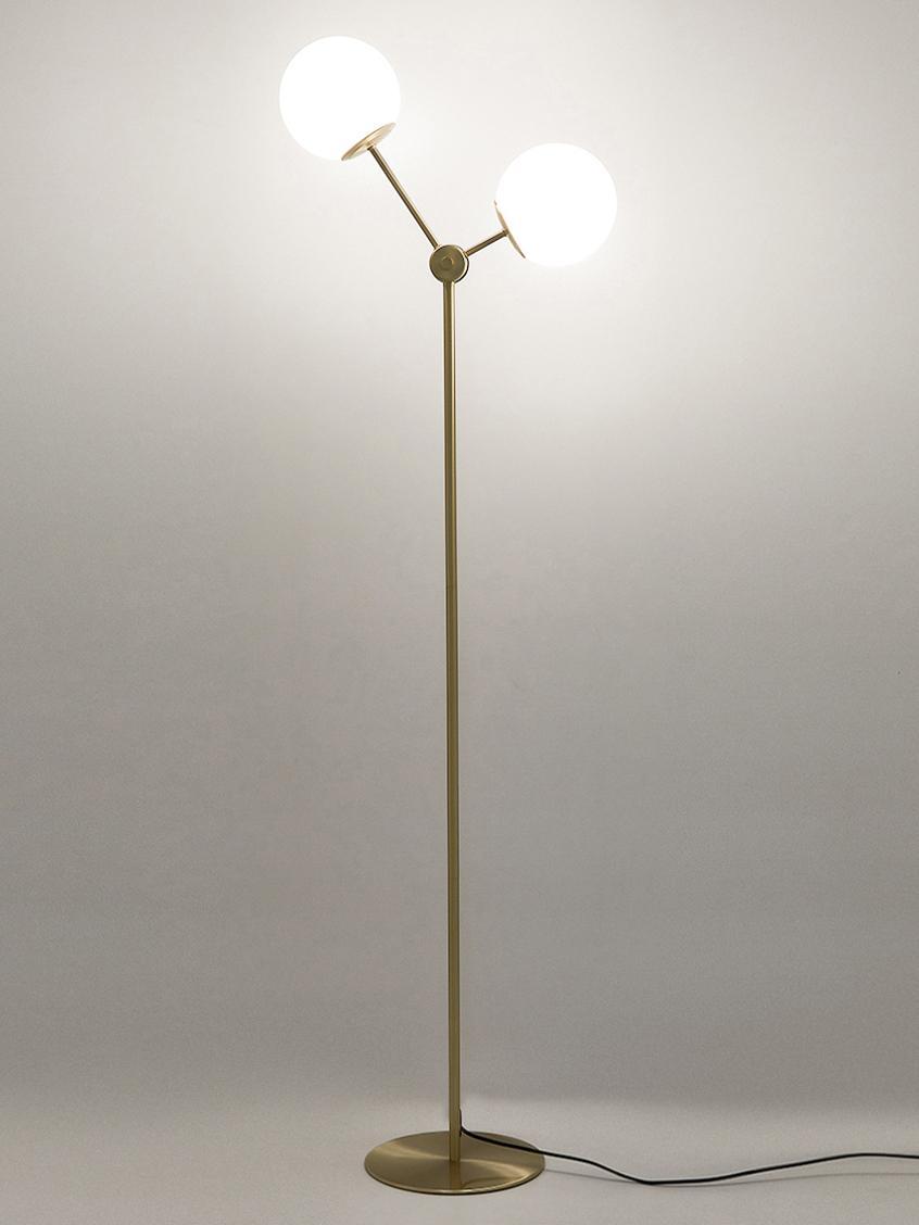 Lampadaire en métal doréAurelia, Laiton, blanc