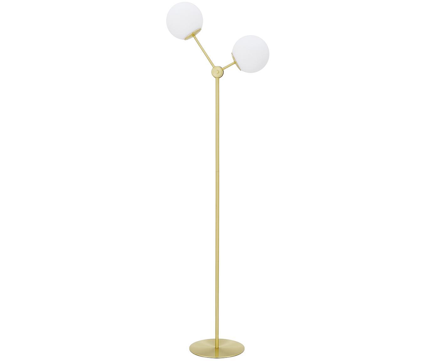 Lampada da terra in oro Aurelia, Paralume: vetro, Base della lampada: metallo ottonato, Ottone, bianco, Ø 25 x Alt. 155 cm