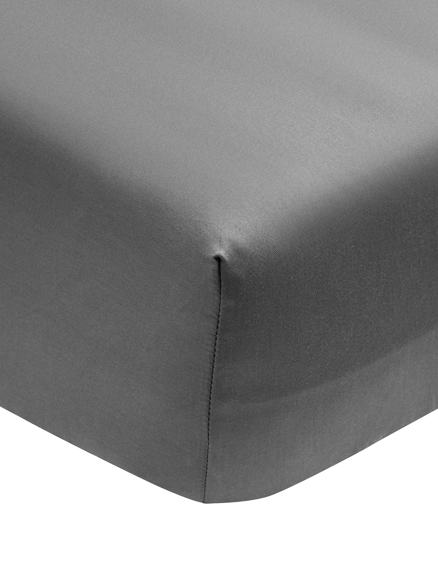 Sábana bajera de satén Premium, Gris oscuro, Cama 90 cm (90 x 200 cm)