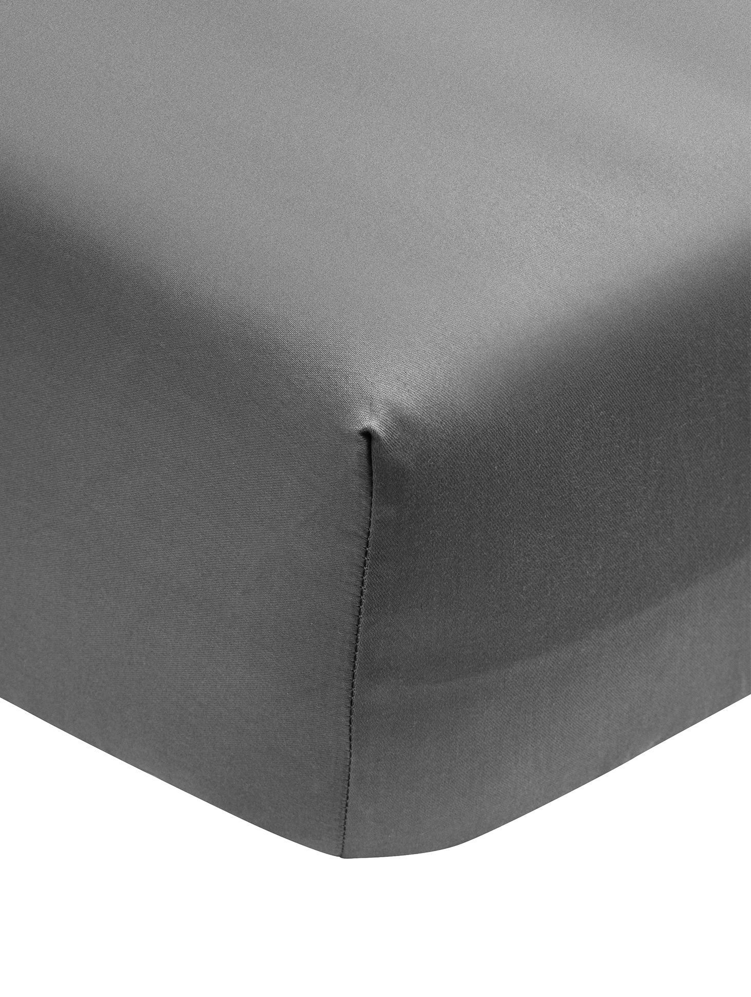 Lenzuolo con angoli in  raso di cotone Premium, Tessuto: raso, leggermente lucido, Grigio scuro, Singolo