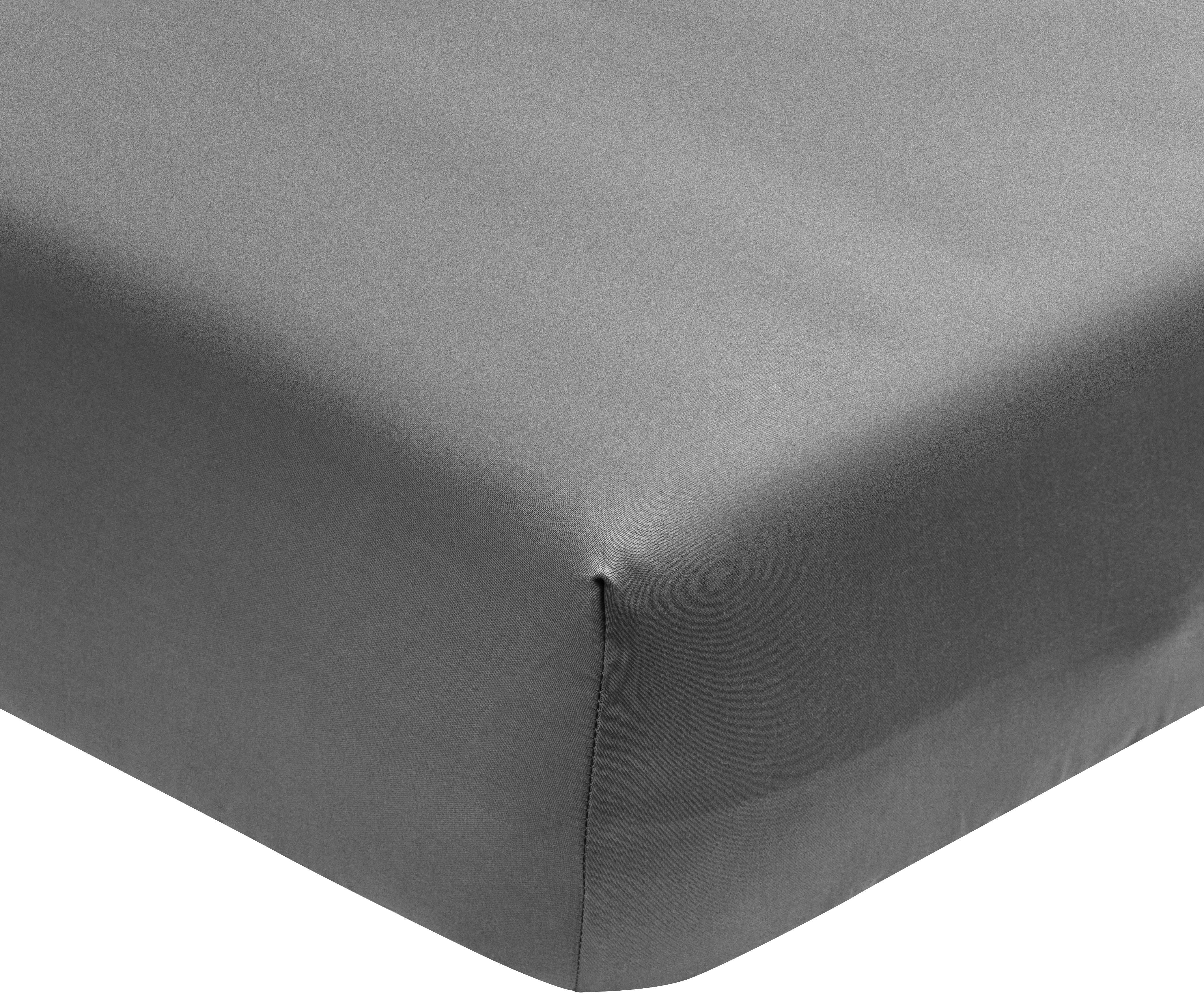 Lenzuolo con angoli in  raso di cotone Premium, Tessuto: raso, leggermente lucido, Grigio scuro, Larg. 90 x Lung. 200 cm
