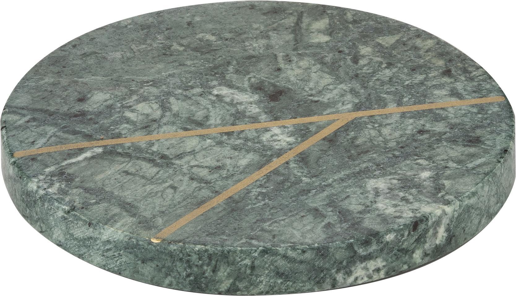 Sottobicchieri in marmo Marek 4 pz, Marmo, Verde marmorizzato, dorato, Ø 10 x Alt. 1 cm