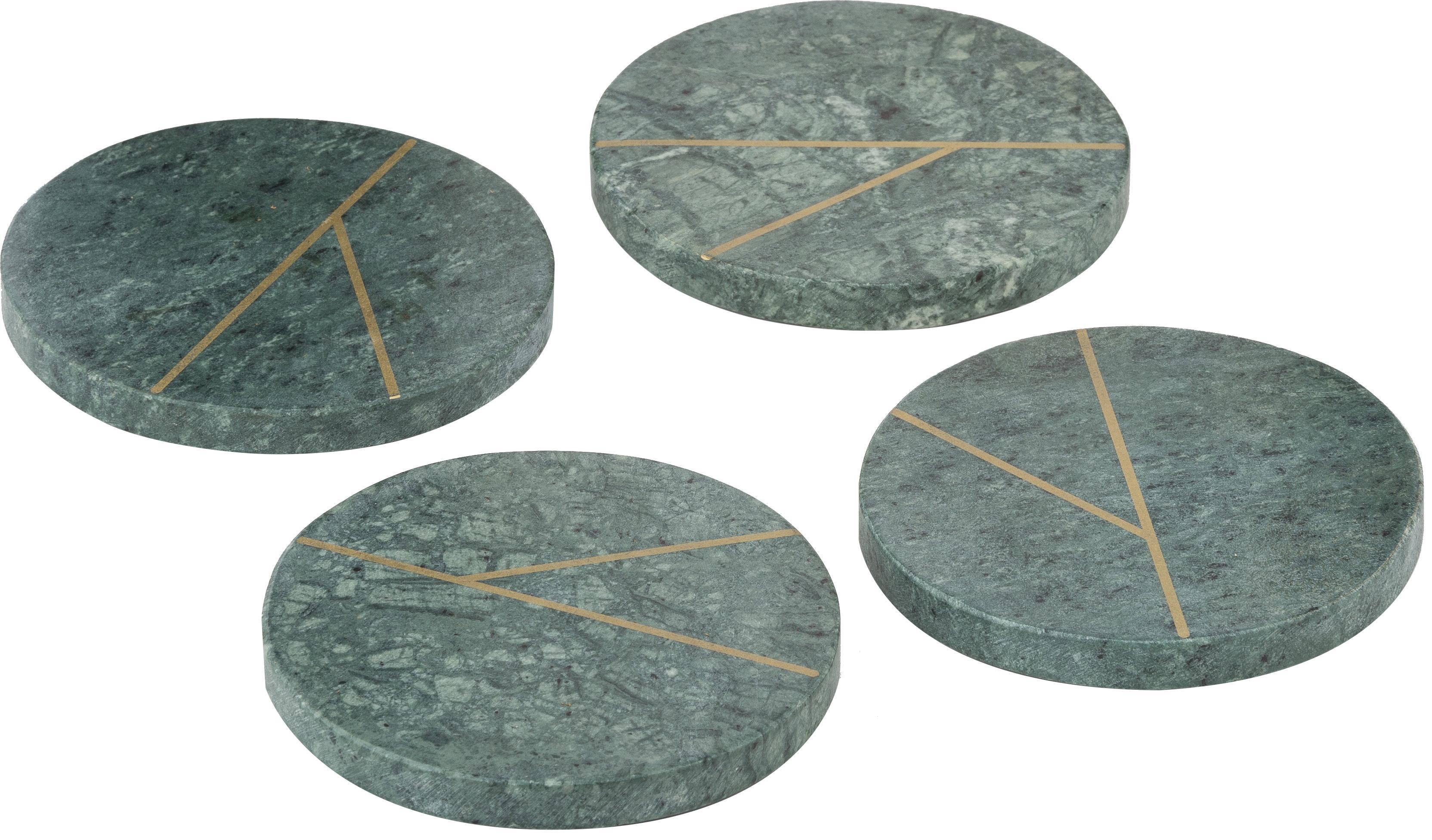 Sous-verres en marbre Marek, 4pièces, Vert marbré, couleur dorée