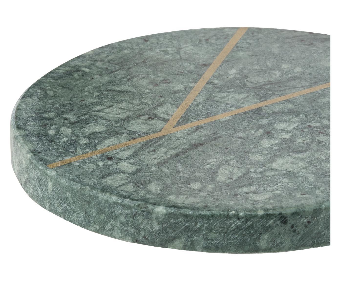 Marmeren onderzetters Marek, 4 stuks, Marmer, Gemarmerd groen, goudkleurig, Ø 10 x H 1 cm