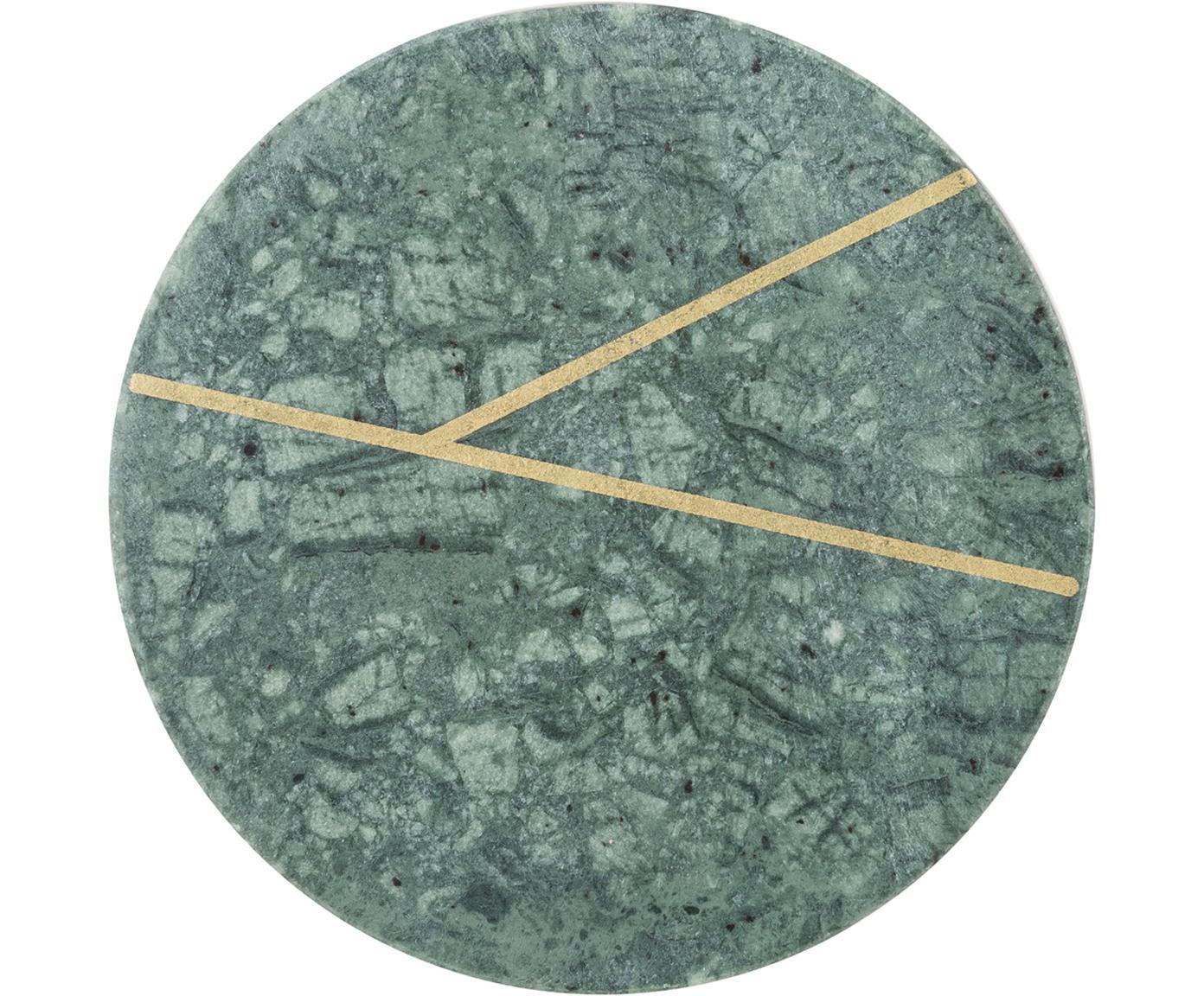 Podstawka z marmuru Tyr, 4 szt., Marmur, Zielony marmurowy, odcienie złotego, Ø 10 x W 1 cm