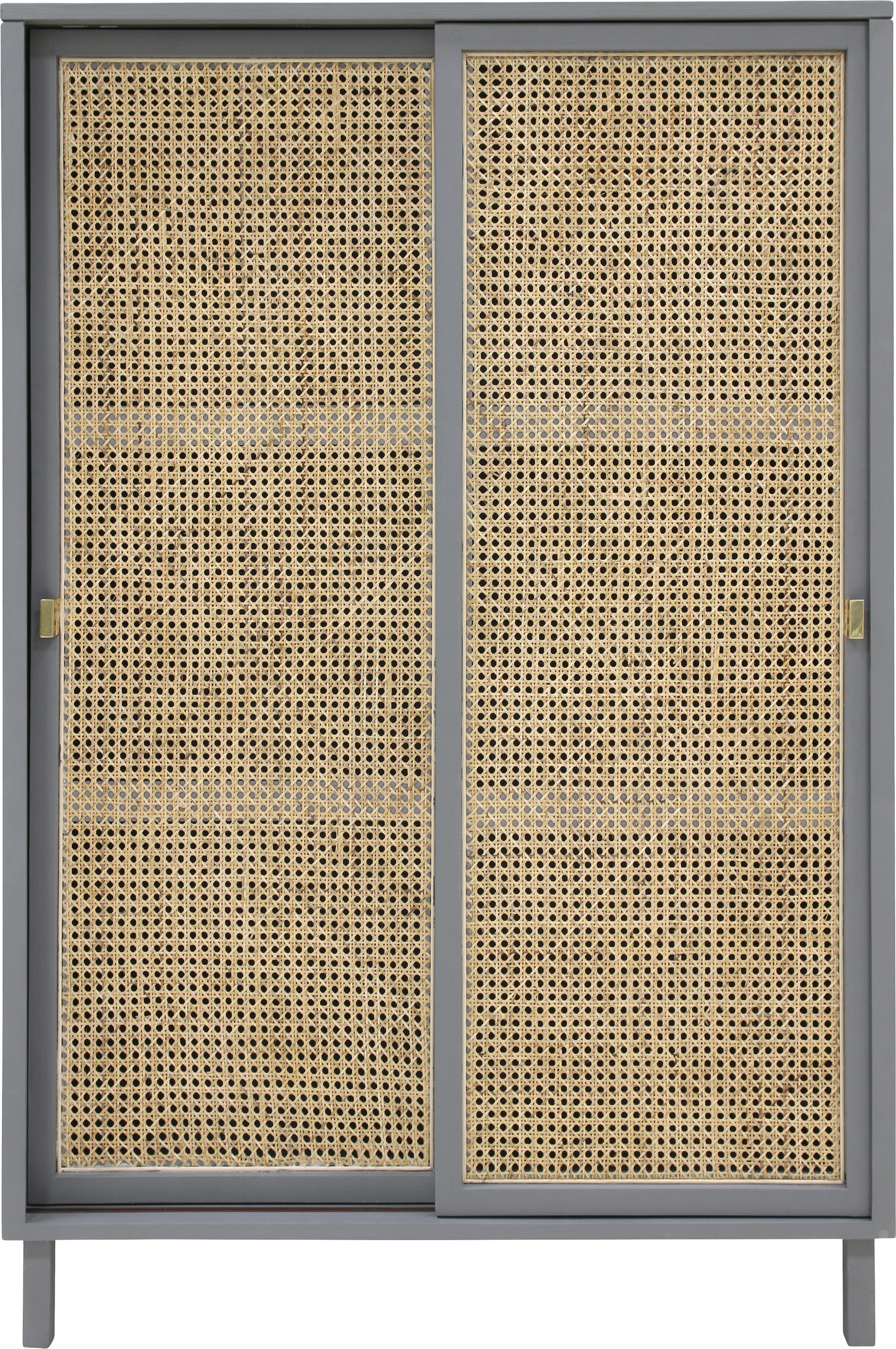 Kast Retro met Weens vlechtwerk, Handvatten: gecoat metaal, Grijs, beige, 95 x 140 cm