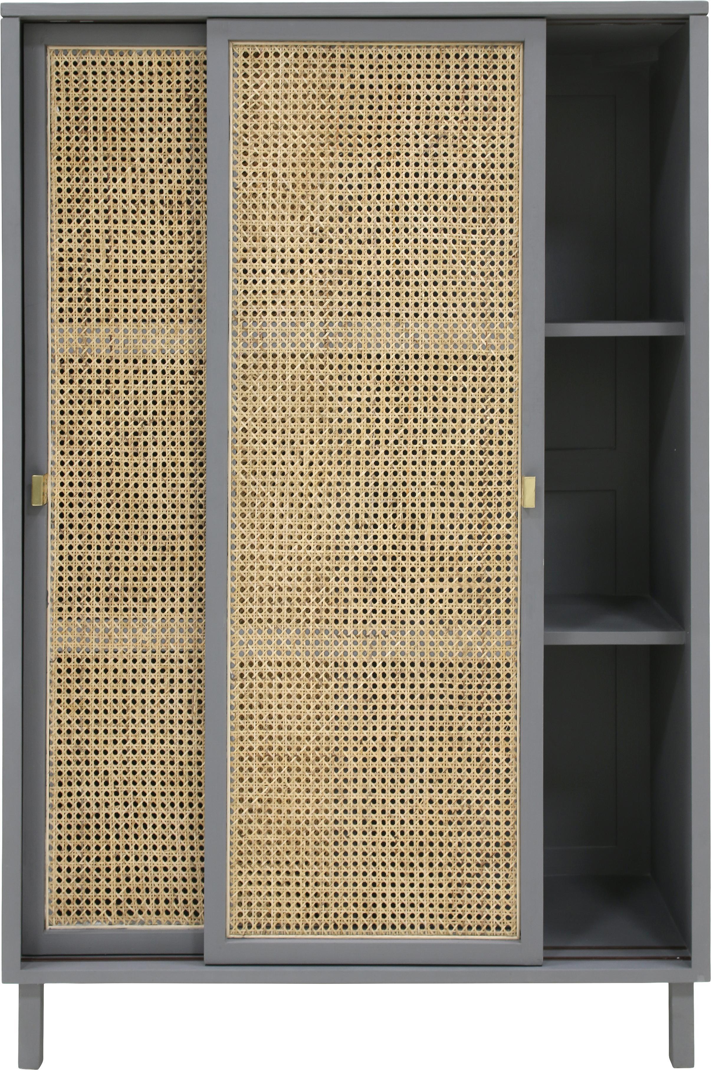 Schrank Retro mit Wiener Geflecht, Wiener Geflecht: Zuckerrohr, Griffe: Metall, beschichtet, Grau, Beige, 95 x 140 cm