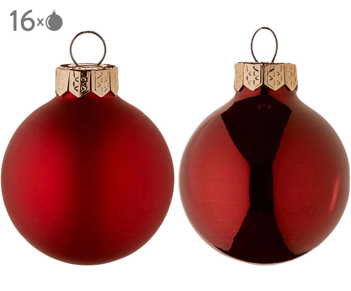 Mini-kerstballenset Evergreen, 16-delig, Rood, Ø 4 cm
