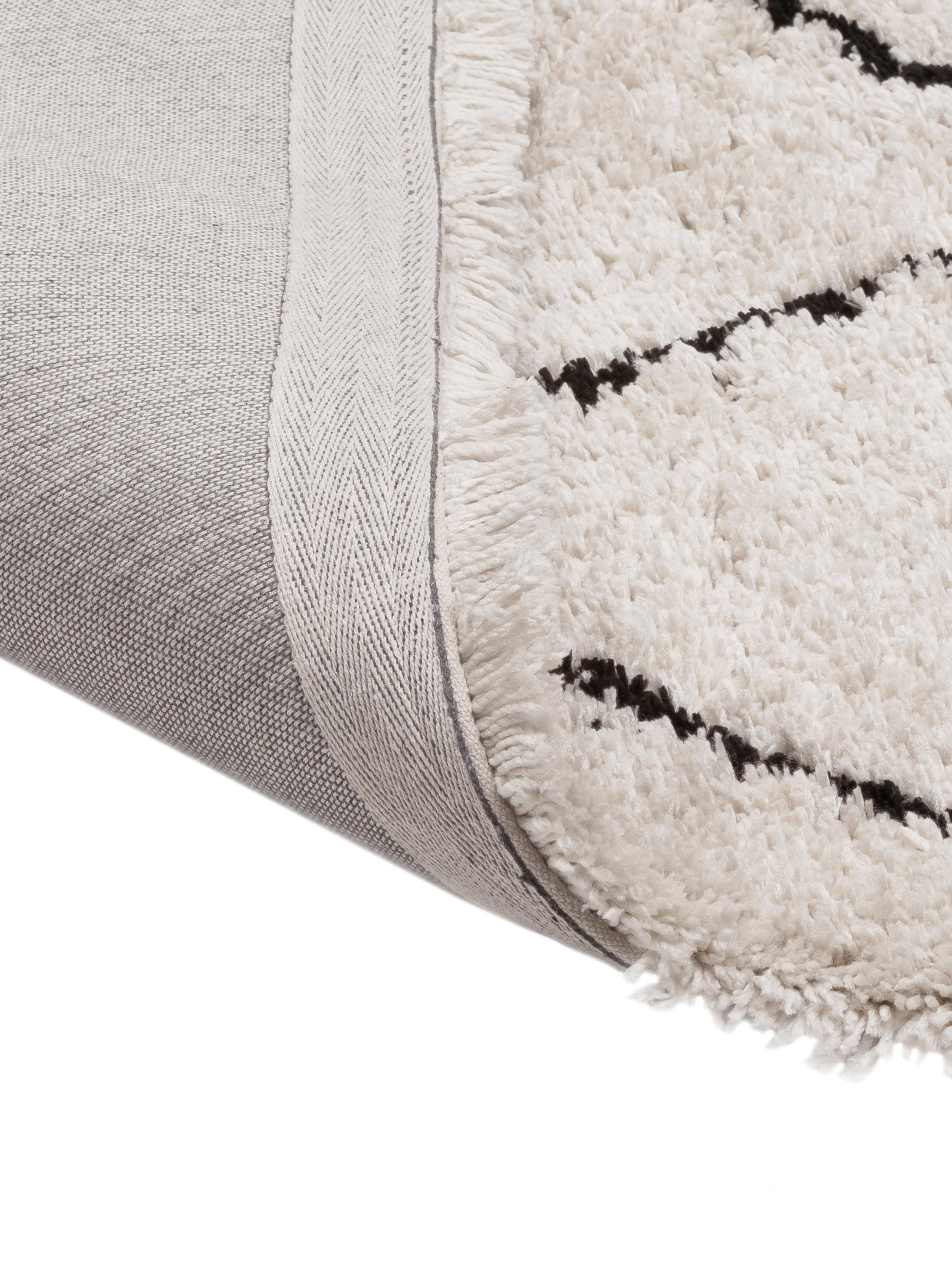 Alfombra artesanal de pelo largo Naima, Parte superior: 100%poliéster, Reverso: 100%algodón, Beige, negro, An 300 x L 400 cm (Tamaño XL)