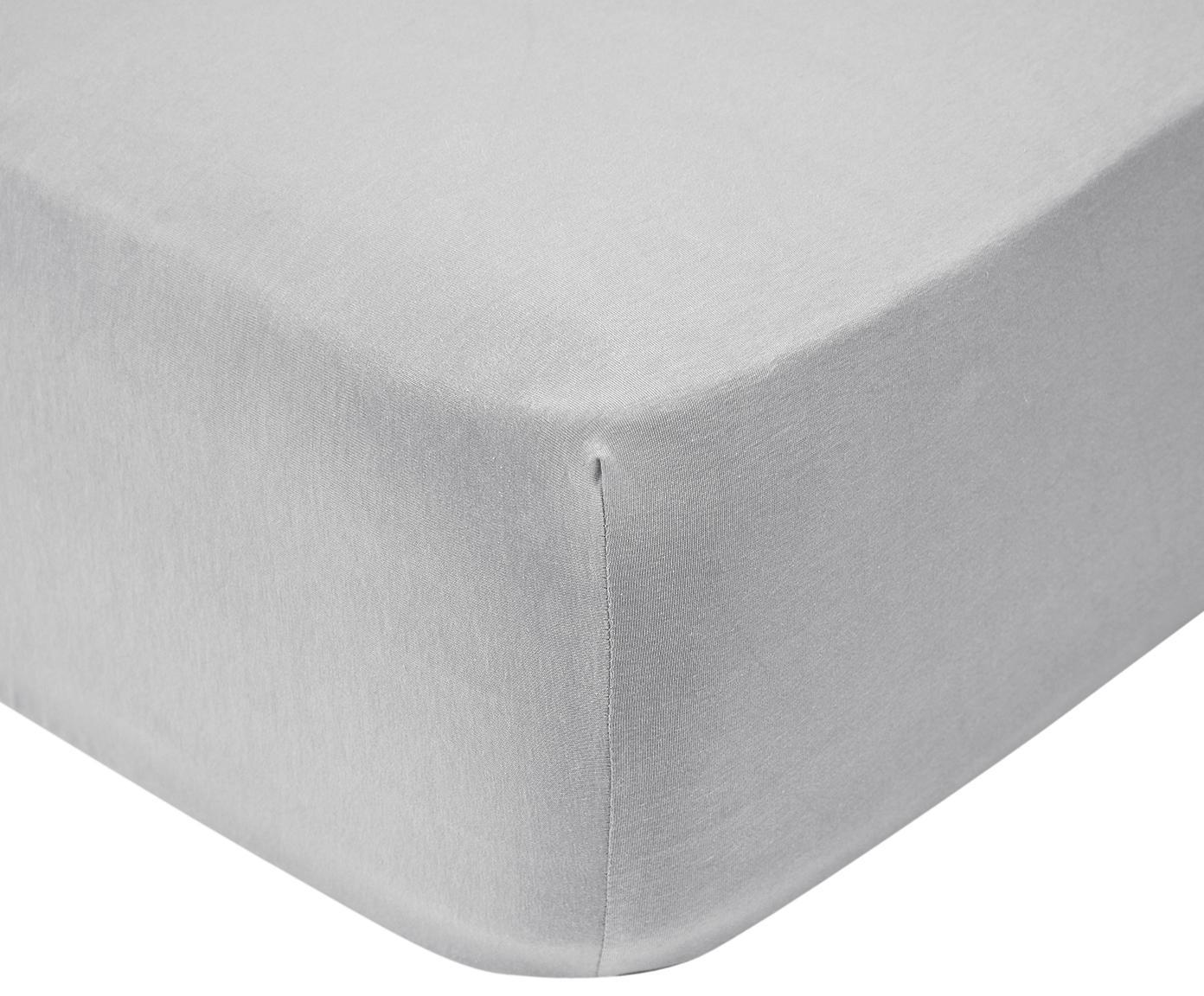 Jersey hoeslaken Lara, 95% katoen, 5% elastaan, Lichtgrijs, 90 x 200 cm