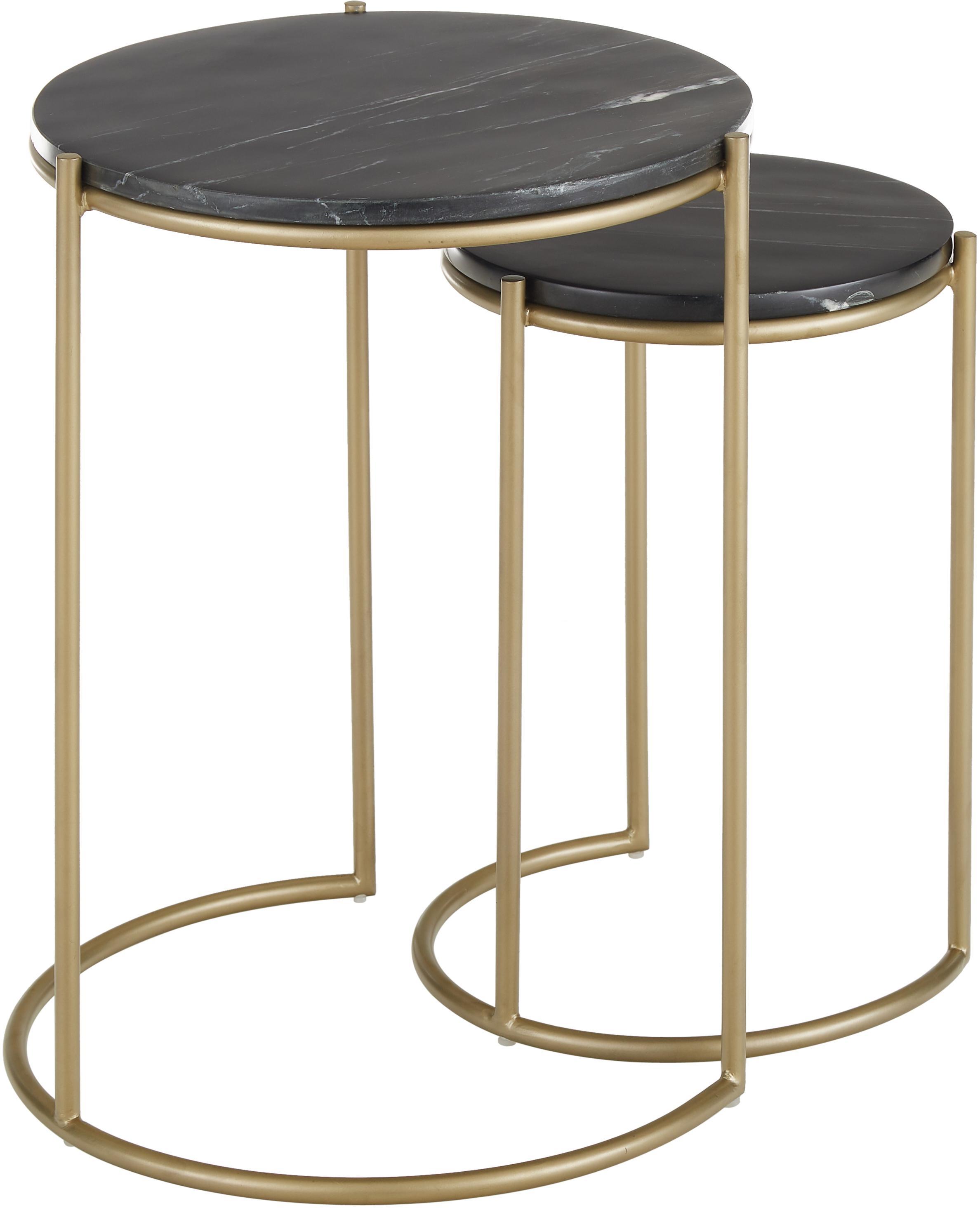 Komplet stolików pomocniczych z marmuru Ella, Stelaż: marmur naturalny, Stelaż: metal malowany proszkowo, Blaty: czarny marmur Regał: odcienie złotego, matowy, Różne rozmiary