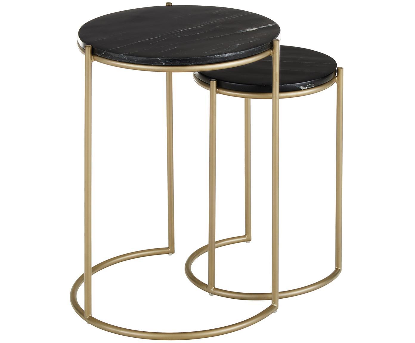 Set de mesas auxiliares de mármol Ella, Tablero: mármol natural, Estructura: metal con pintura en polv, Mármol negro, dorado, Tamaños diferentes
