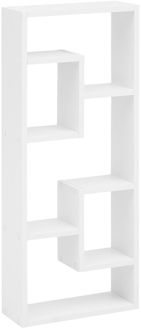Estantería de pared pequeña Rosalie, Aglomerado frustrado, Blanco, An 36 x Al 90 cm