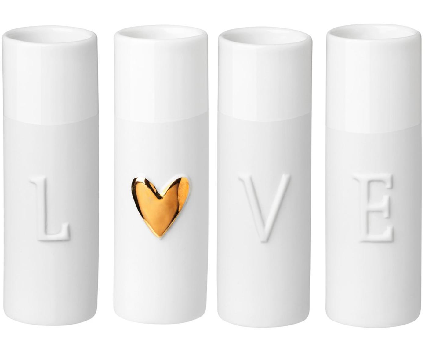XS Vasen Love aus Porzellan, 4-tlg., Porzellan, Vasen: WeißHerz-Relief: Goldfarben, Ø 3 x H 9 cm