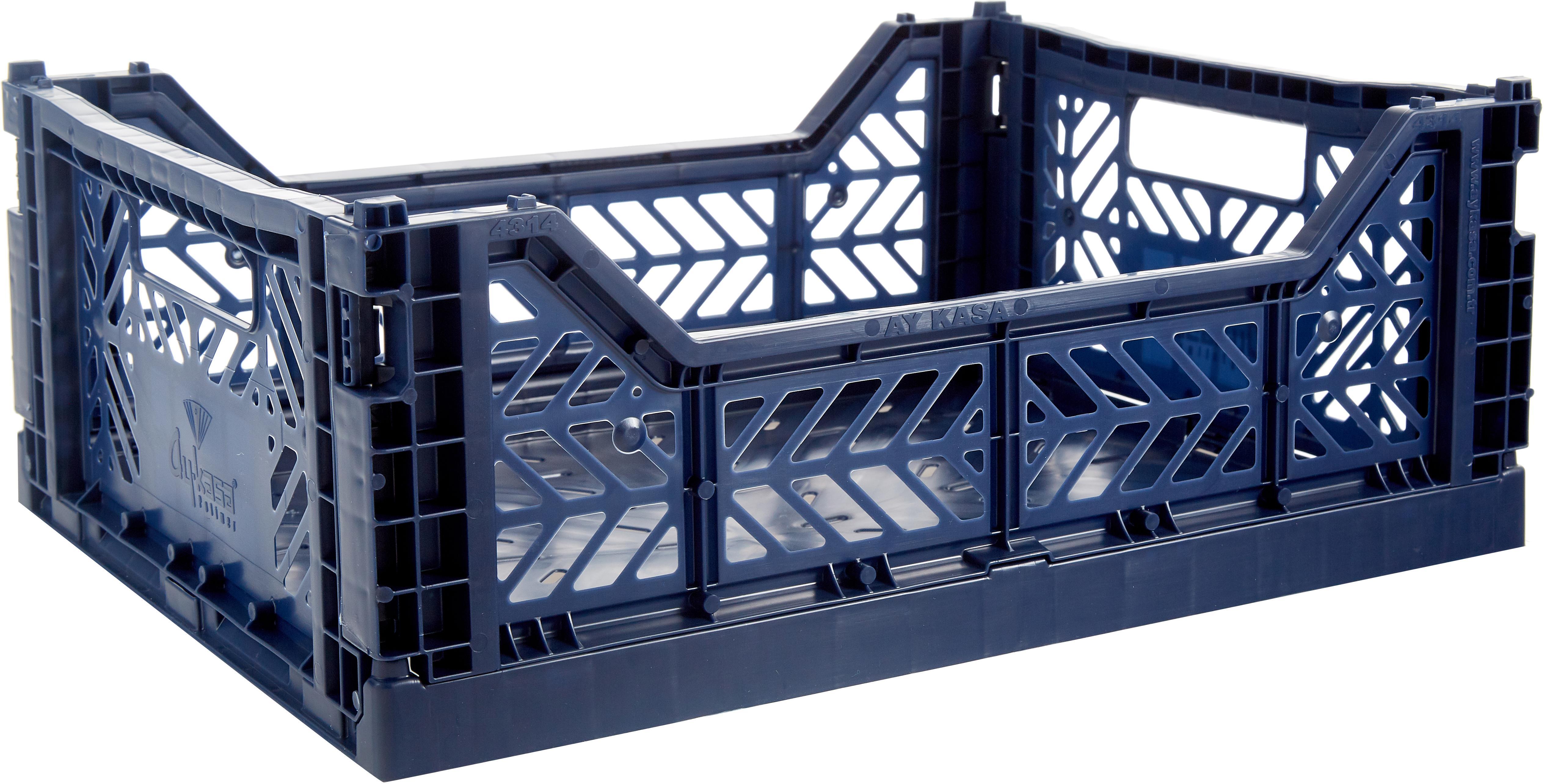 Klappkiste Navy, stapelbar, medium, Recycelter Kunststoff, Navyblau, 40 x 14 cm