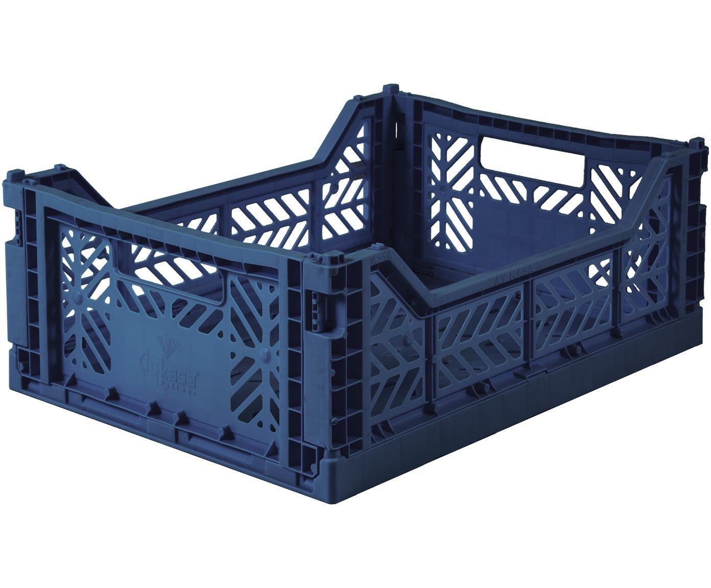 Średnie składane pudełko do przechowywania Navy, Tworzywo sztuczne z recyklingu, Granatowy, S 40 x W 14 cm