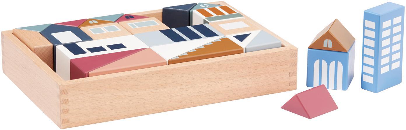 Holzklötze-Set Aiden, Fichtenholz, Buchenholz, lackiert, Mehrfarbig, 30 x 6 cm