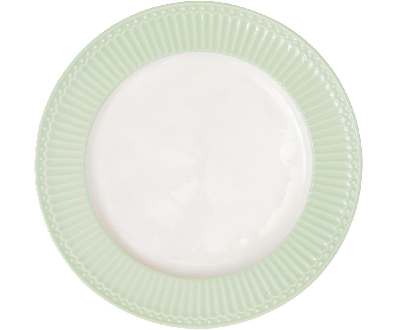 Handgefertigte Speiseteller Alice in Pastellgrün mit Reliefdesign, 2 Stück, Steingut, Mintgrün, Weiß, Ø 27 cm