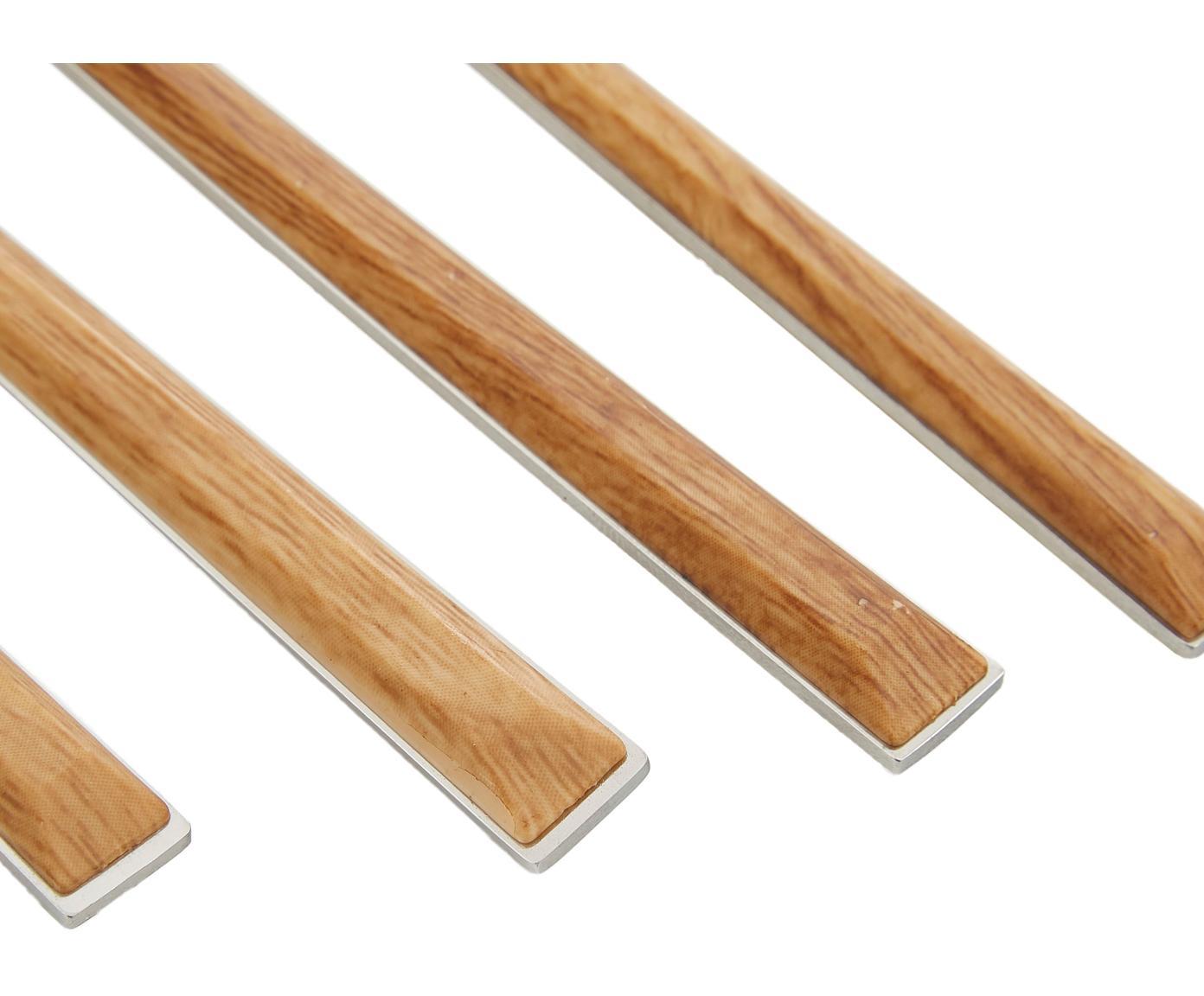 Besteck-Set Wodoley mit Griffen in Holzoptik, 4 Personen (16-tlg.), EdelstahlGriff: Braun, Holz-Optik, L 23 cm