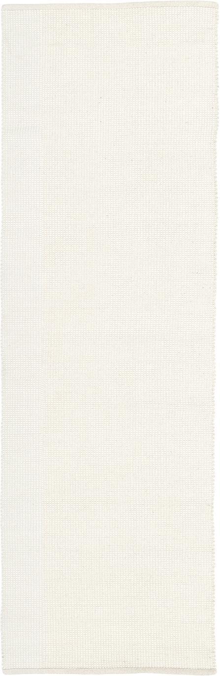 Passatoia in lana tessuta a mano Amaro, 38% lana, 22% poliestere, 20% cotone, 20% poliammide, Bianco crema, Larg. 80 x Lung. 250 cm