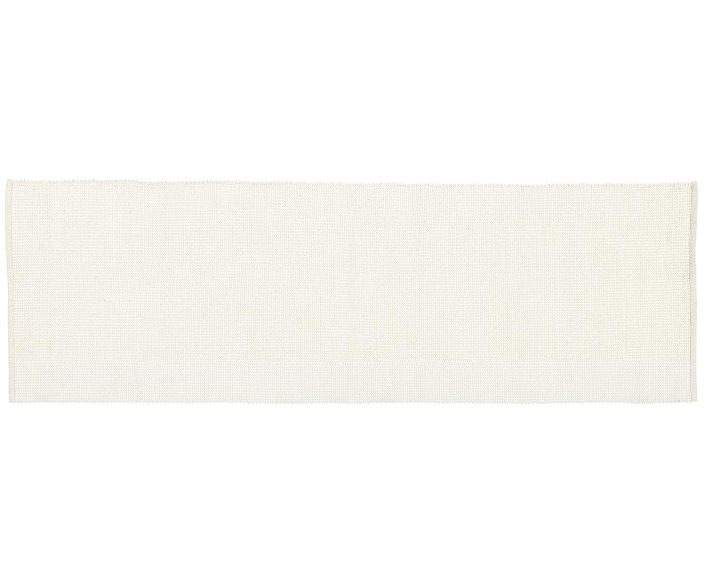 Ręcznie tkany chodnik z wełny Amaro, 38% wełna, 22% poliester, 20% bawełna, 20% poliamid, Kremowobiały, S 80 x D 250 cm