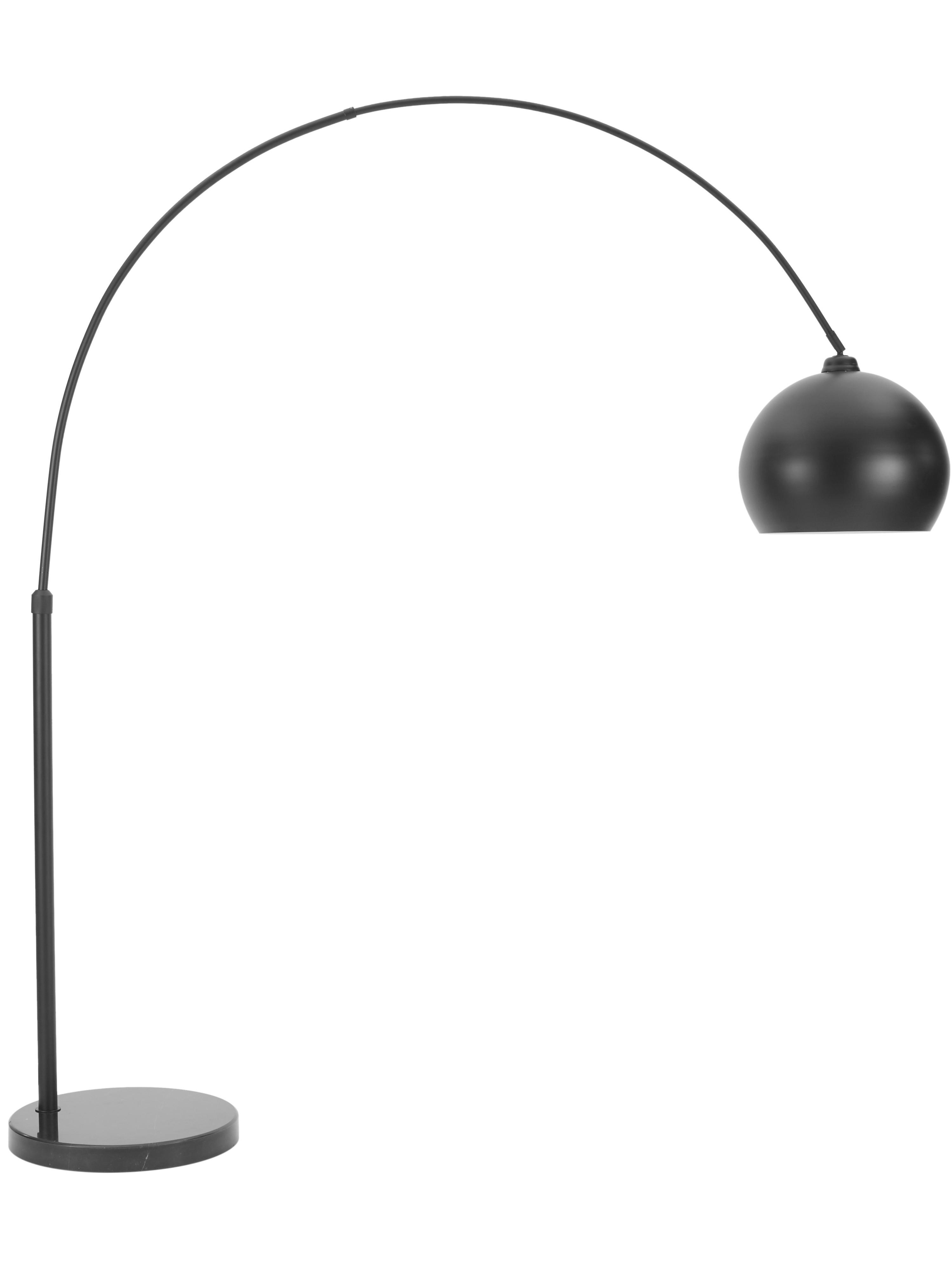 Booglamp Toronto met marmeren voet, Lampenkap: gepoedercoat metaal, Lampvoet: marmer, Frame: gepoedercoat metaal, Zwart, 190 x 198 cm