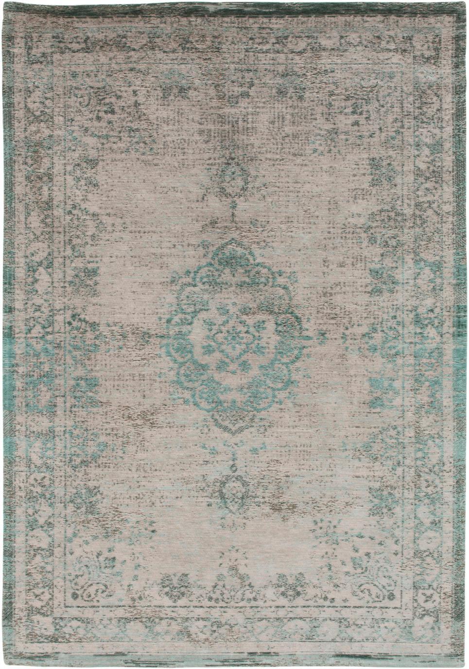 Vintage chenille vloerkleed Medaillon, Bovenzijde: chenille (katoen), Weeftechniek: jacquard, Onderzijde: chenille, gecoat met late, Groen, roze, B 170 x L 240 cm (maat M)