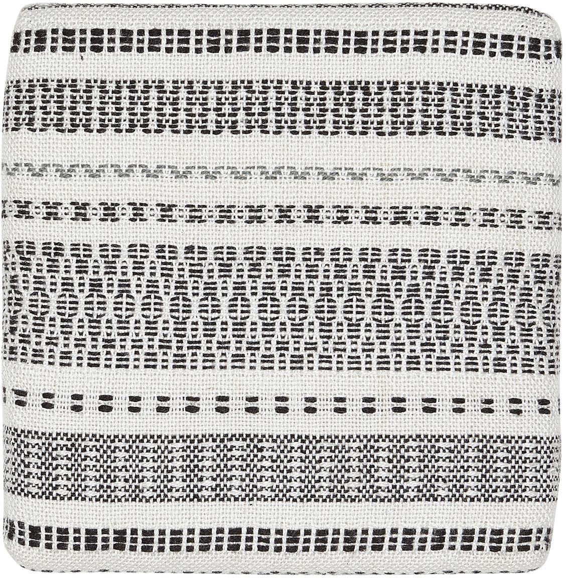 Stoelkussen met patroon Faroe van gerecycled PET, Gerecycled PET, Wit, zwart, 40 x 40 cm