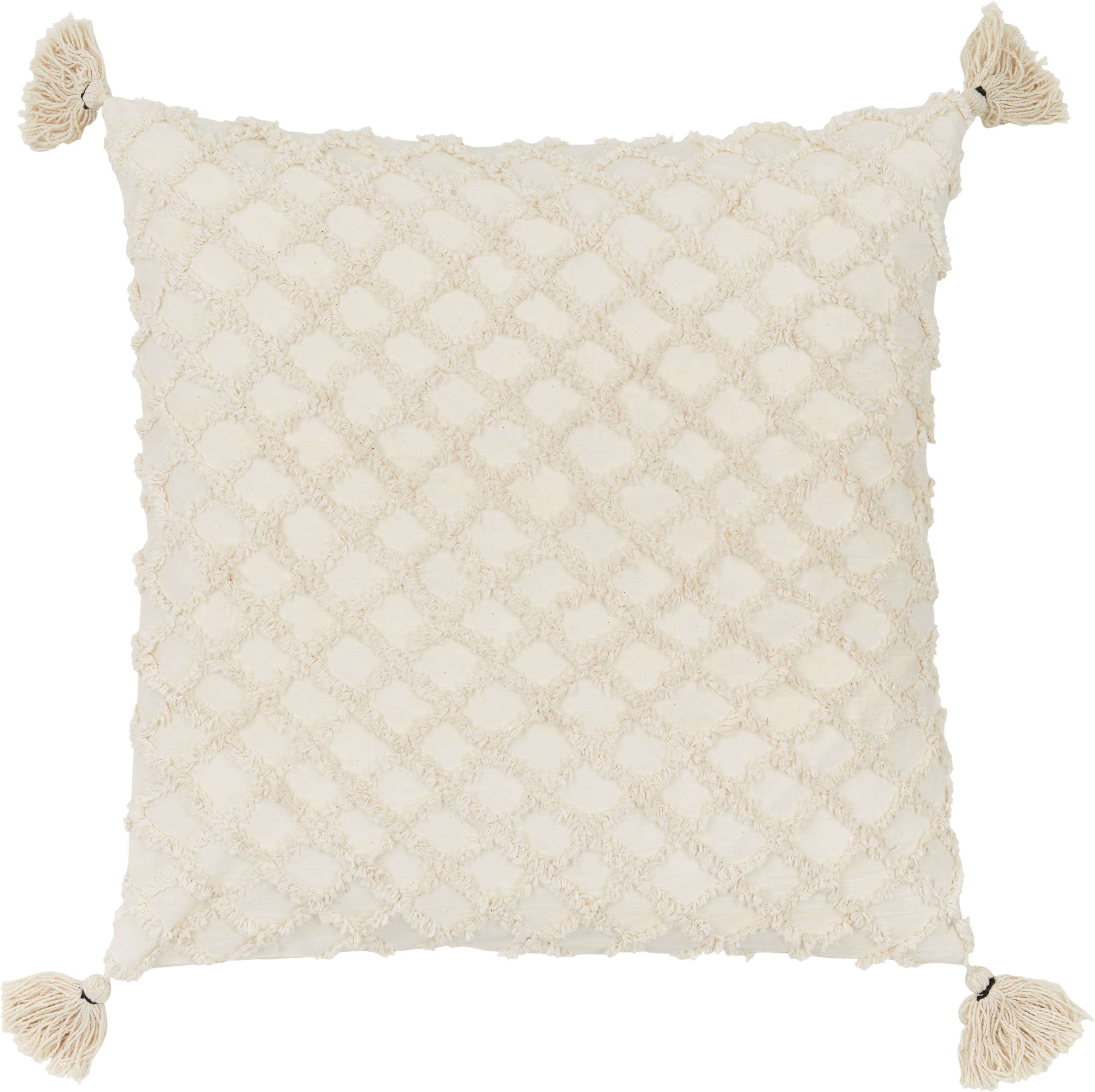Kissenhülle Royal mit Hoch-Tief-Muster, 100% Baumwolle, Gebrochenes Weiß, 45 x 45 cm