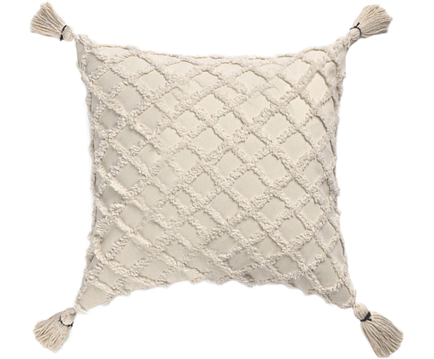 Kussenhoes Royal met hoog-laag patroon, Katoen, Gebroken wit, 45 x 45 cm
