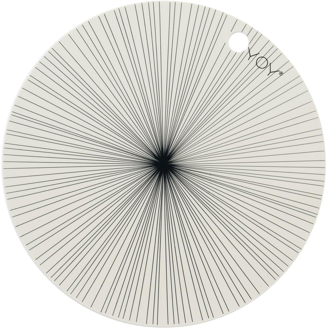 Ronde placemats Ray, 2 stuks, Siliconen, Gebroken wit, zwart, Ø 39 cm