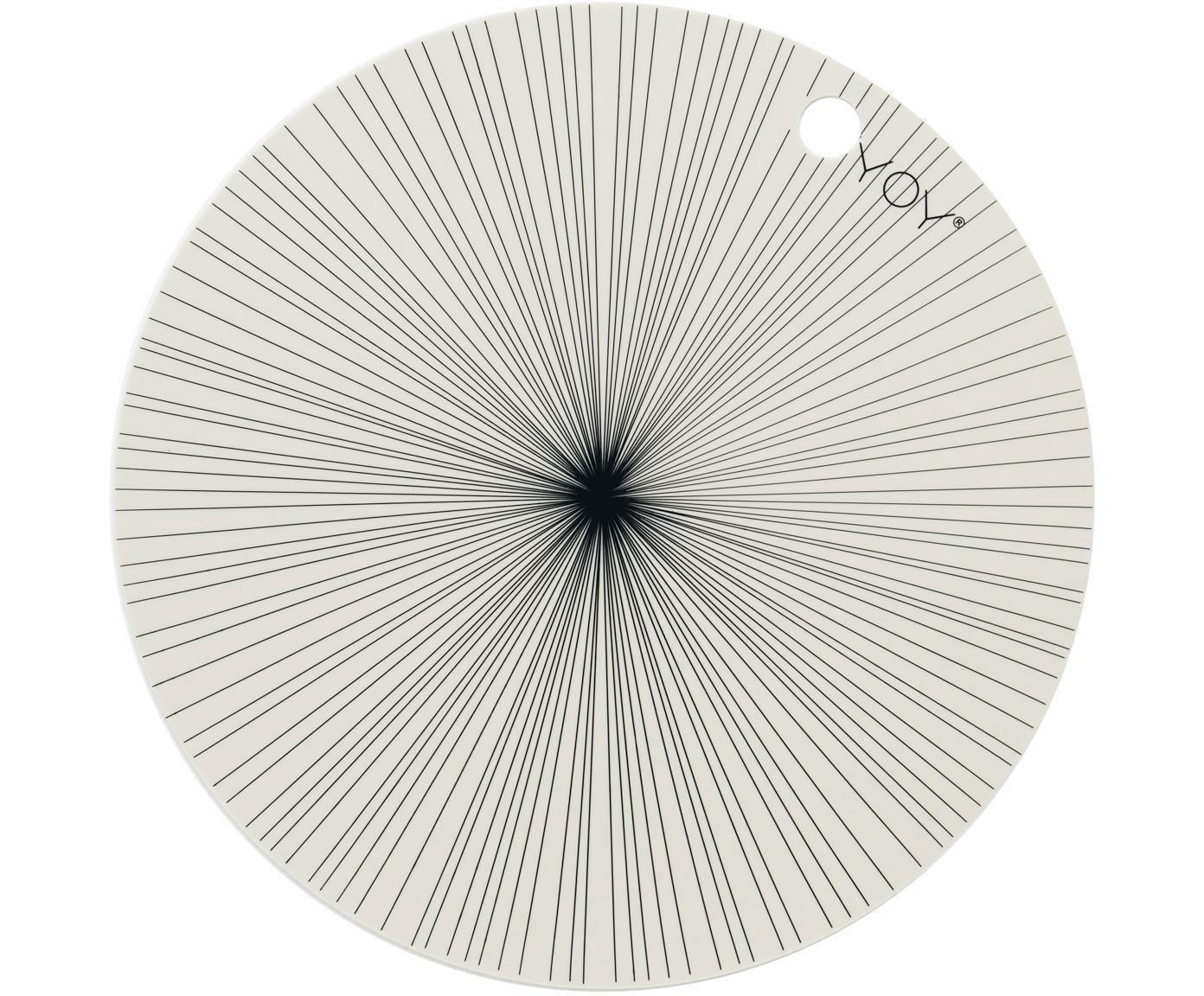 Okrągła podkładka z silikonu Ray, 2 szt., Silikon, Złamana biel, czarny, Ø 39 cm
