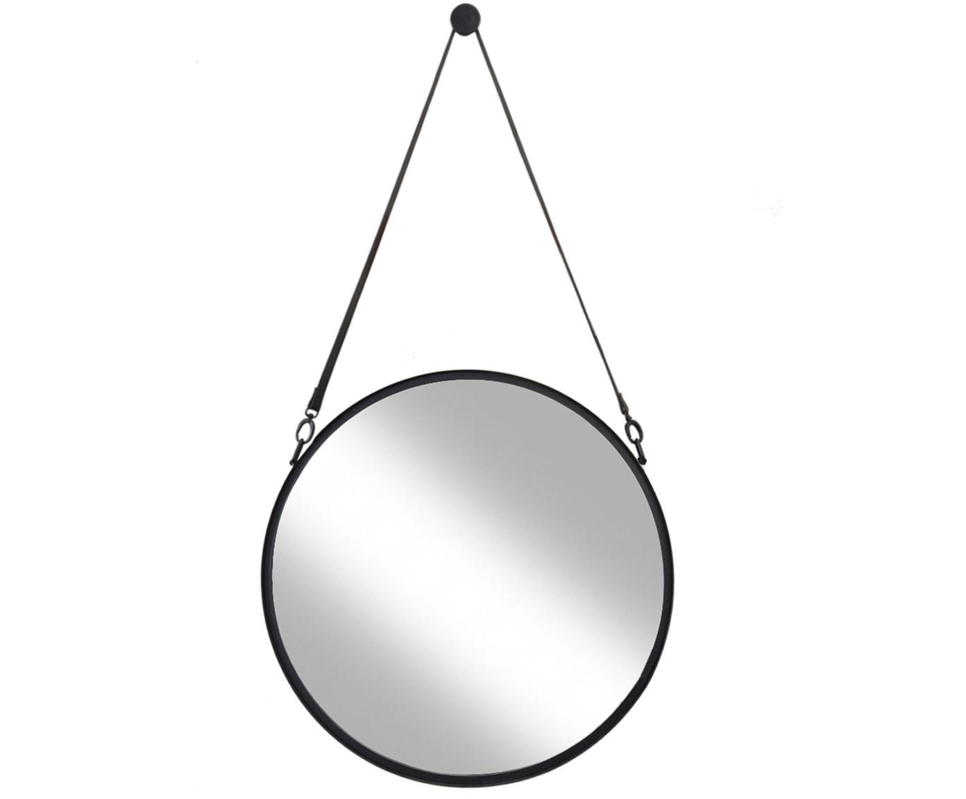 Okrągłe lustro ścienne ze skórzaną pętlą Liz, Czarny, Ø 80 cm