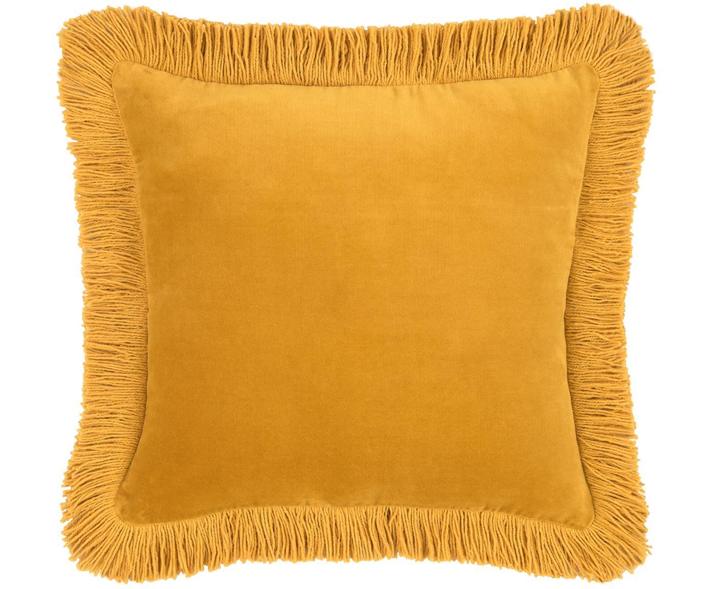 Poszewka na poduszkę z aksamitu Phoeby, Bawełna, Żółty, S 40 x D 40 cm