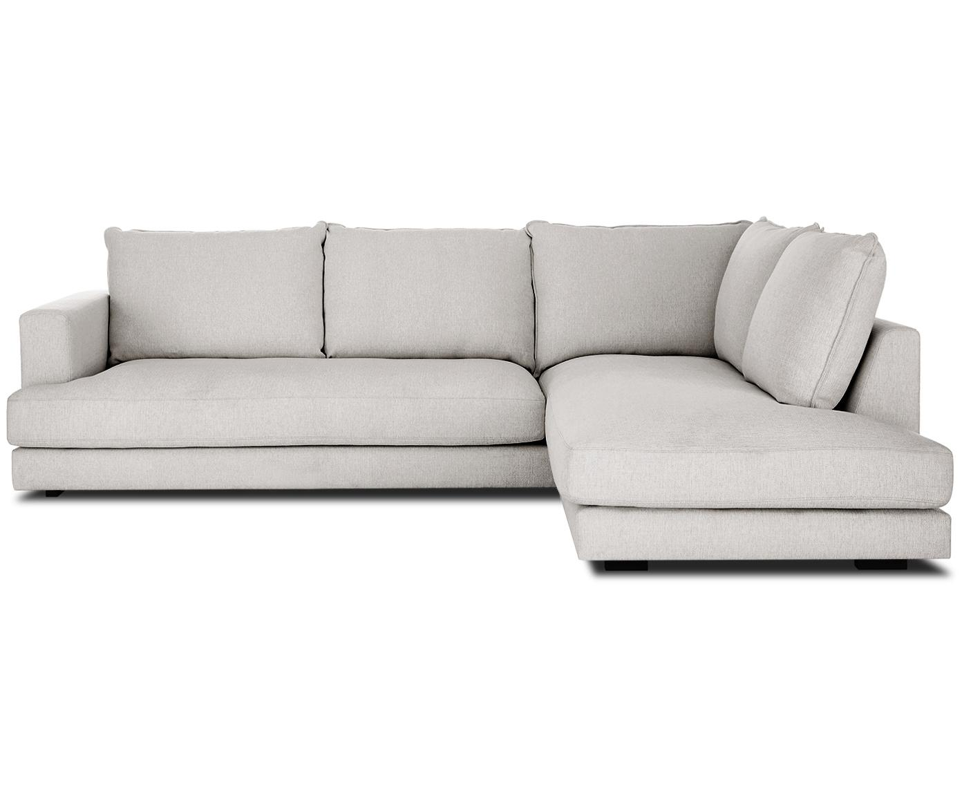Grote hoekbank Tribeca, Bekleding: polyester, Zitvlak: schuimvulling, vezelmater, Frame: massief grenenhout, Poten: massief gelakt beukenhout, Grijs, B 274 x D 196 cm