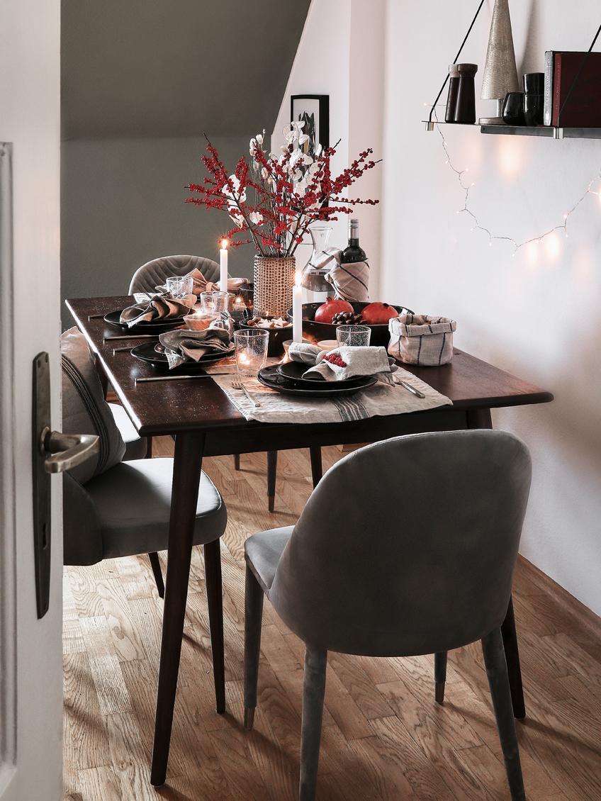 Massivholz Esstisch Oscar, Mangoholz massiv, lackiert, Dunkelbraun, B 150 x T 90 cm