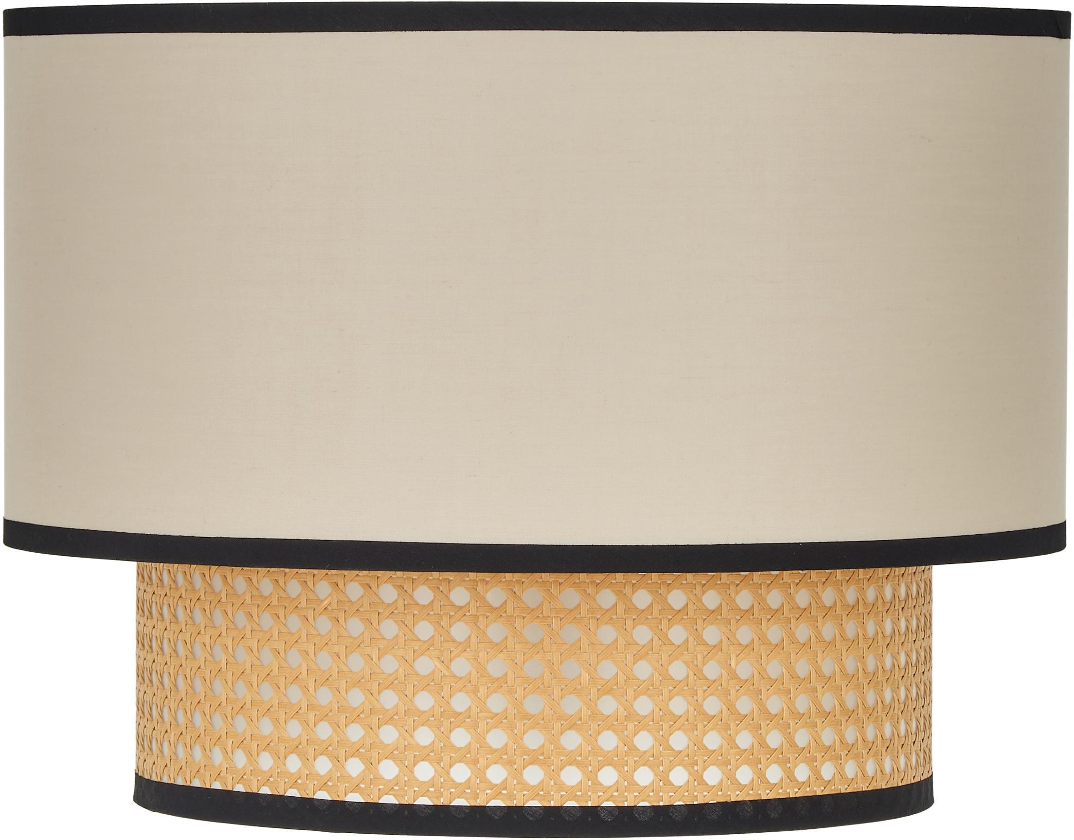 Plafoniera in intreccio viennese Vienna, Baldacchino: metallo verniciato a polv, Paralume: miscela di cotone, materi, Beige, nero, crema, Ø 40 x Alt. 30 cm