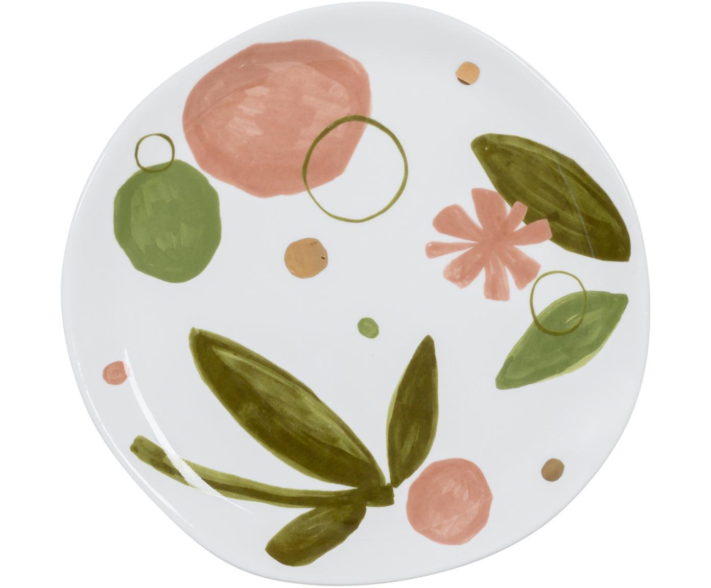 Plato postre Expressive, Porcelana New Bone, Blanco, rosa, verde, dorado, Ø 17 cm