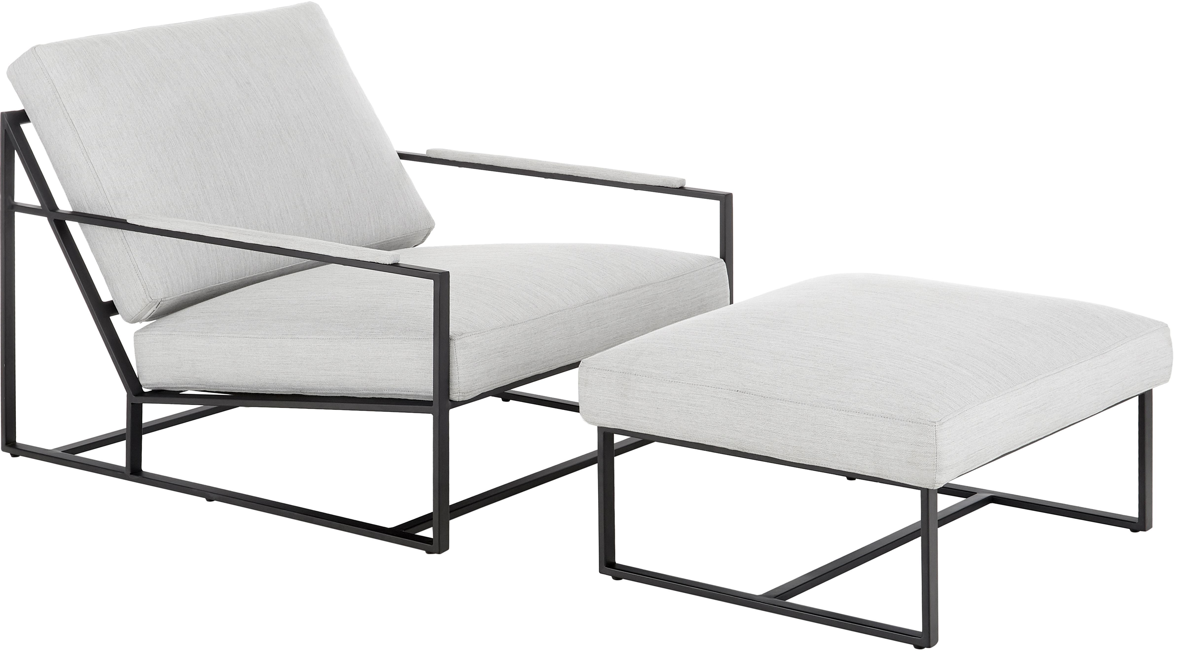 Loungeset Andy, 2-delig met metalen frame, Bekleding: 93% polyester, 5% katoen,, Frame: gepoedercoat metaal, Geweven stof lichtgrijs, Verschillende formaten