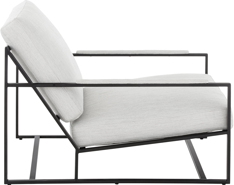 Lounge-Set Andy, 2-tlg. mit Metall-Gestell, Webstoff Hellgrau, Sondergrößen